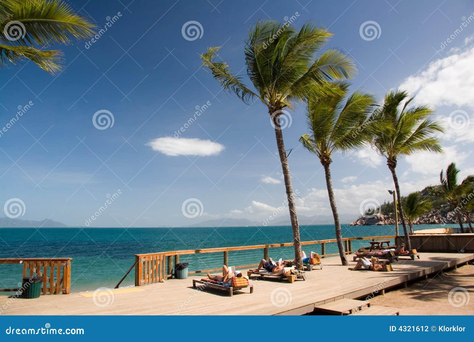 Mensen die op een tropisch eiland ontspannen