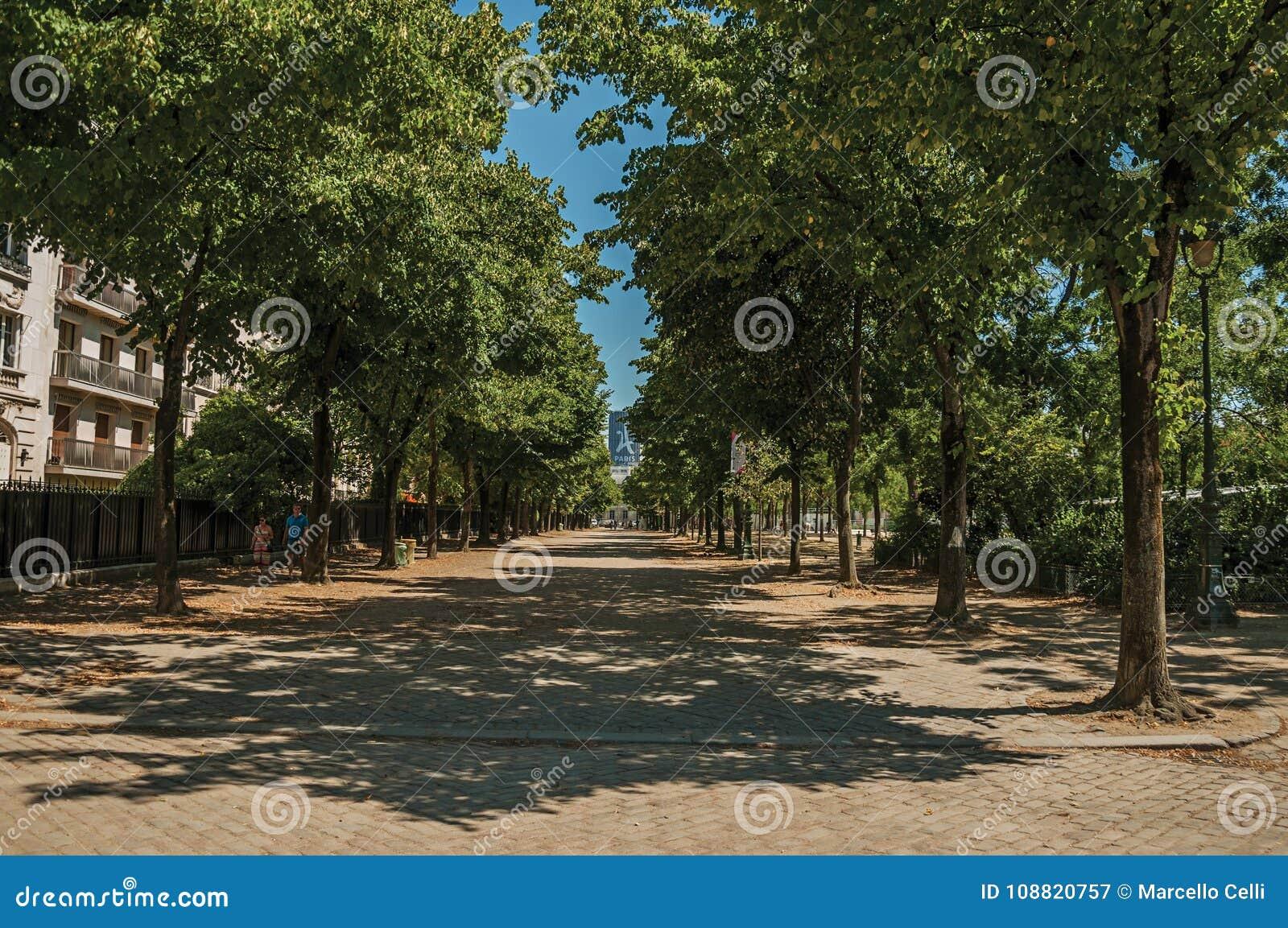 Mensen die op stoep met bomen op een zonnige dag in Parijs lopen