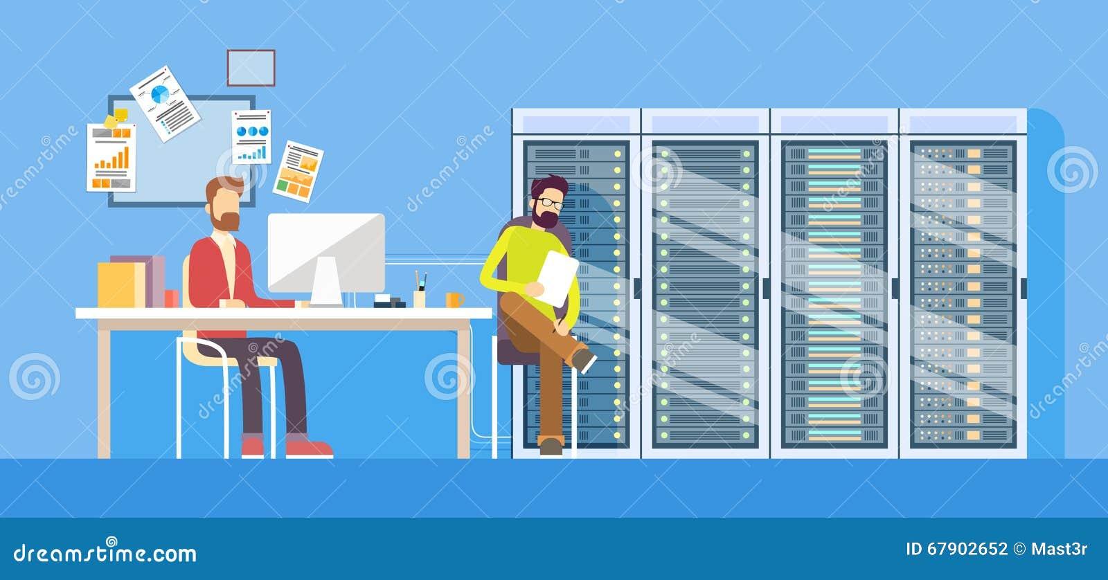 Mensen die van de de Arbeidersmens van het Gegevenscentrum de Technische Beheerder Sitting Desk Hosting werken