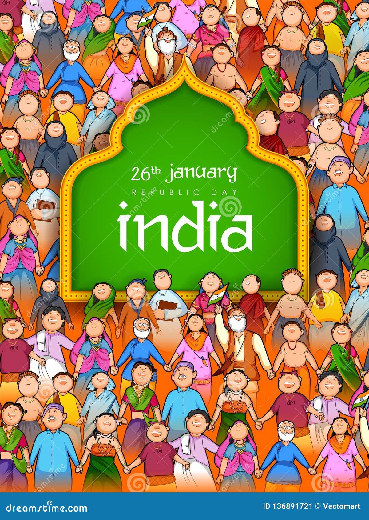 Mensen die van verschillende godsdienst Eenheid in Diversiteit op de Gelukkige Dag van de Republiek van India tonen