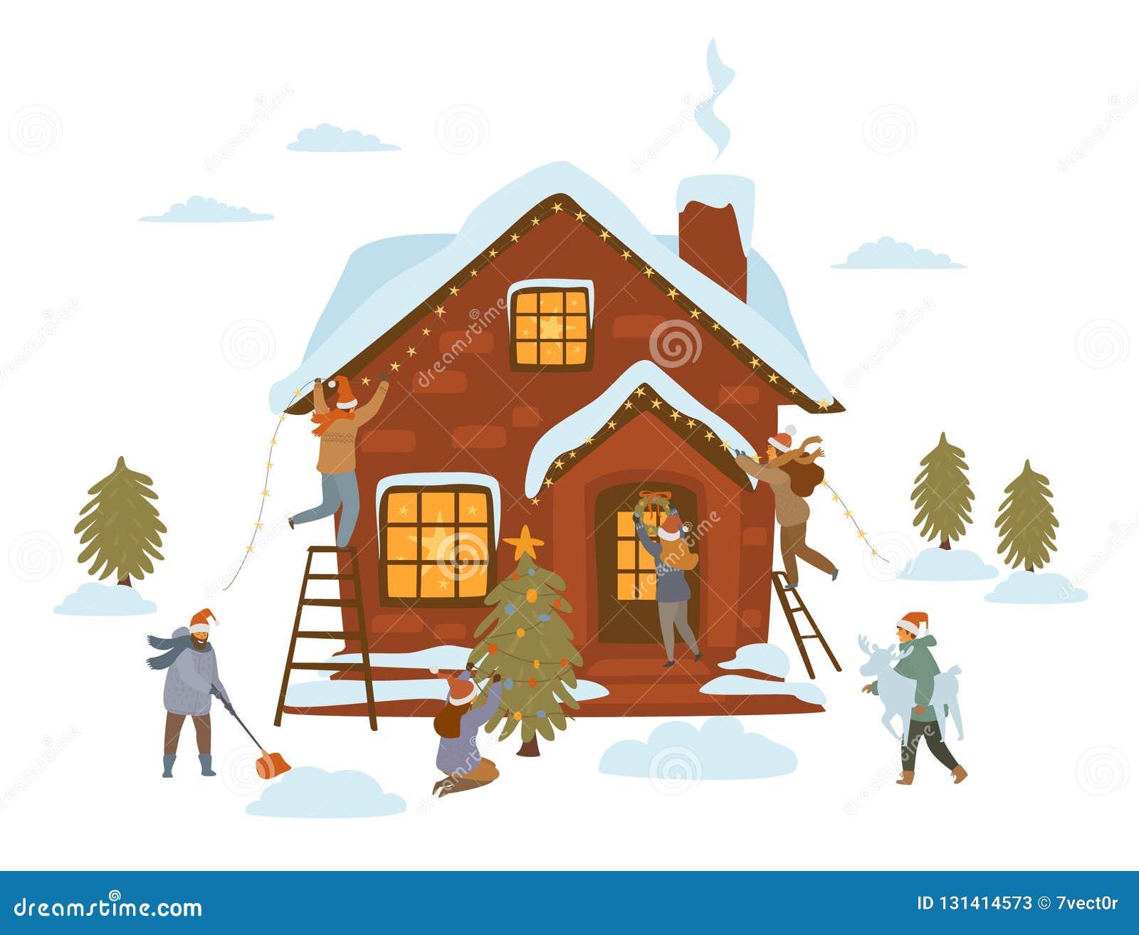 Mensen die voor Kerstmisviering voorbereidingen treffen, die huis, bomen, ingangsdeur, yard met de lichtenslingers van sterrenker