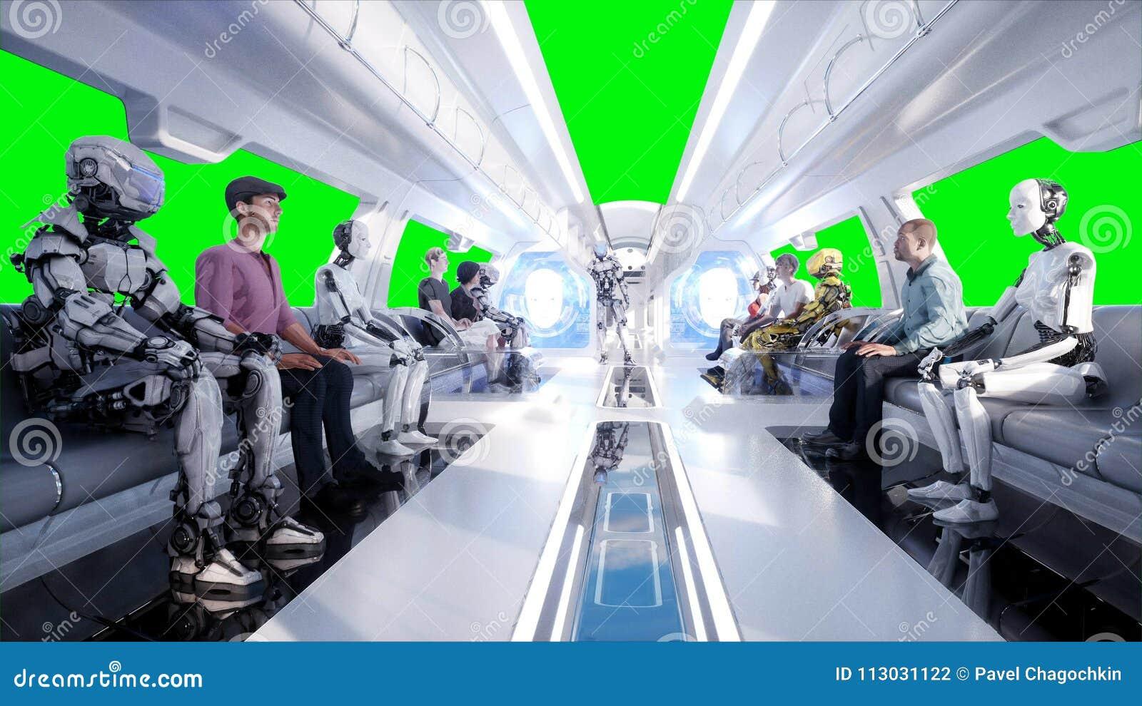 Mensen en Robots Futuristisch monorailvervoer Concept toekomst Realistische 4K animatie