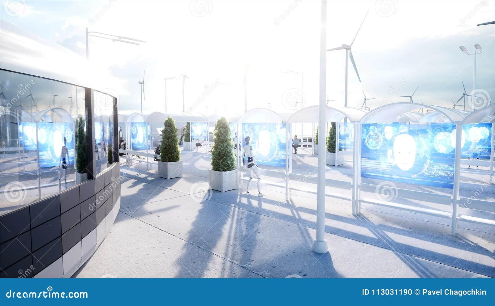 Mensen en Robots Sc.i-de post van FI Futuristisch monorailvervoer Concept toekomst het 3d teruggeven