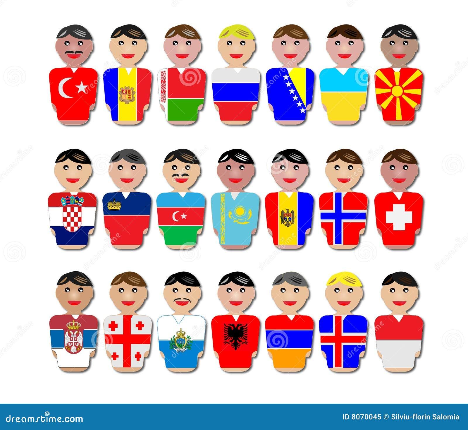 Mensen En Vlaggen Van Europa Royalty Vrije Stock Foto