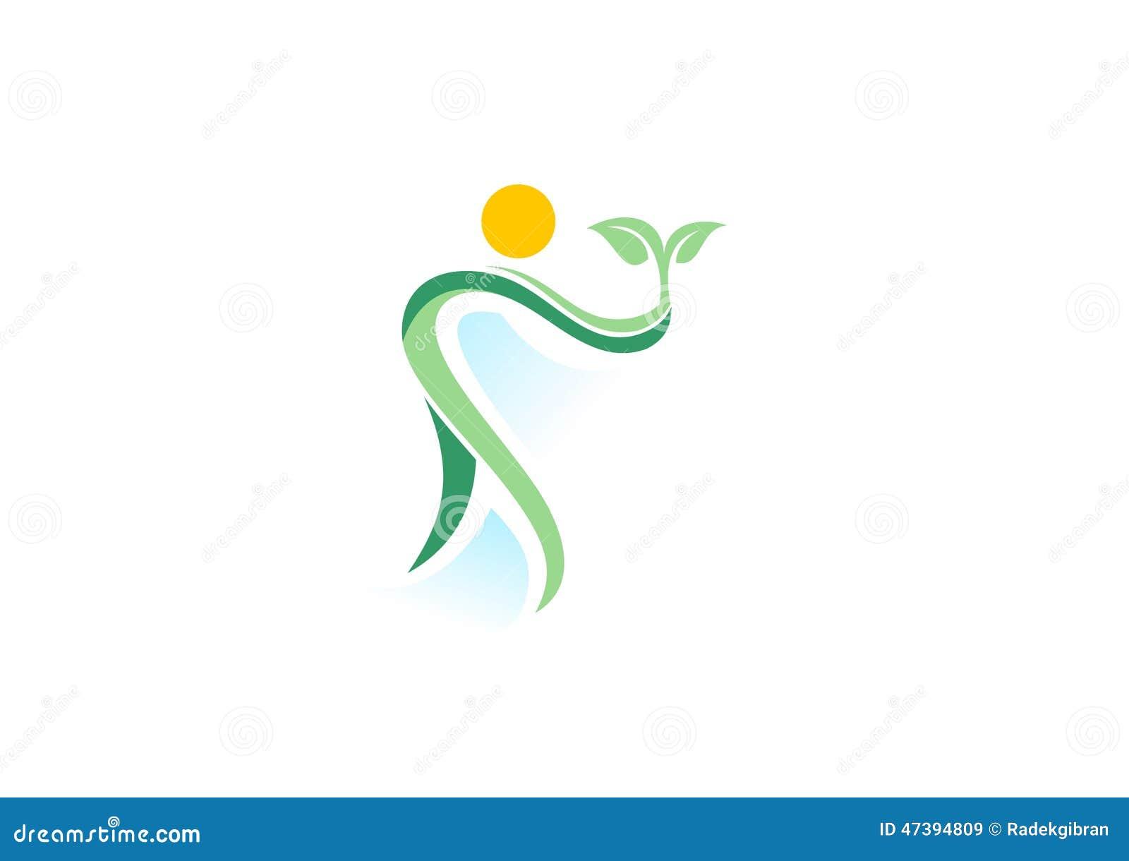 Mensen, installatie, kuuroord, embleem, natuurlijke gezondheidswellness, het pictogram van het ecologiesymbool