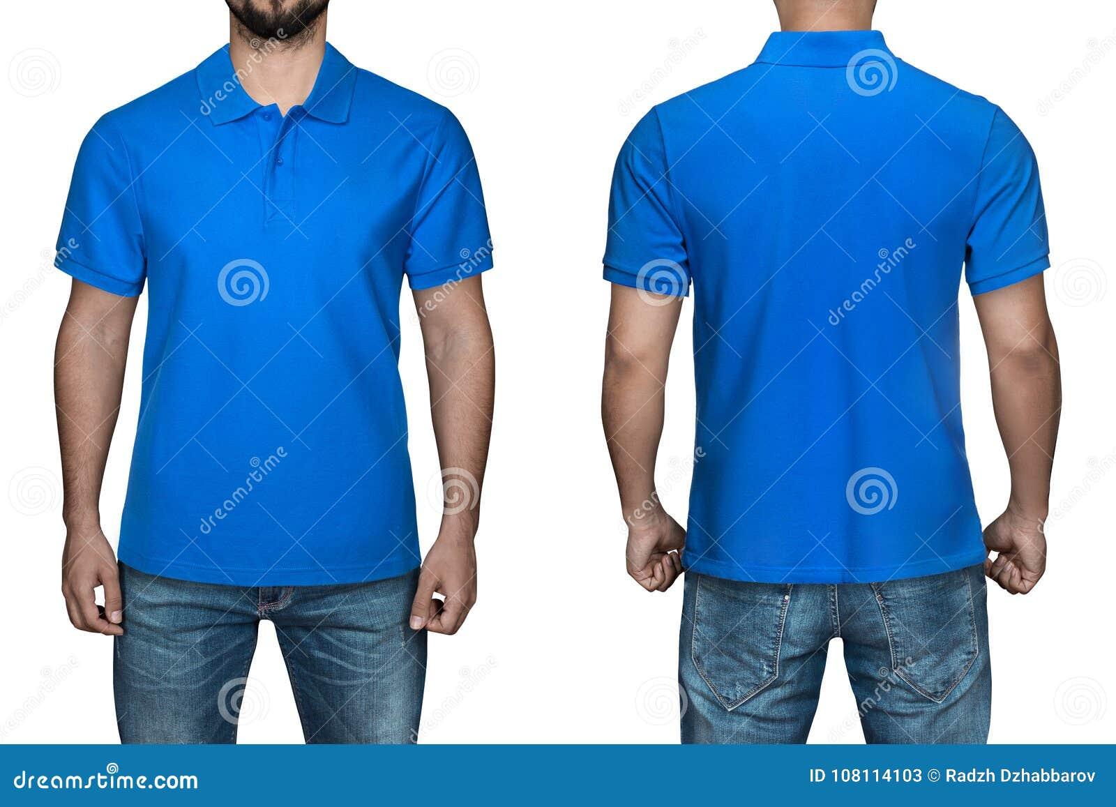 Het Overhemd.Mensen In Lege Blauwe Polooverhemd Voor En Achtermening Witte