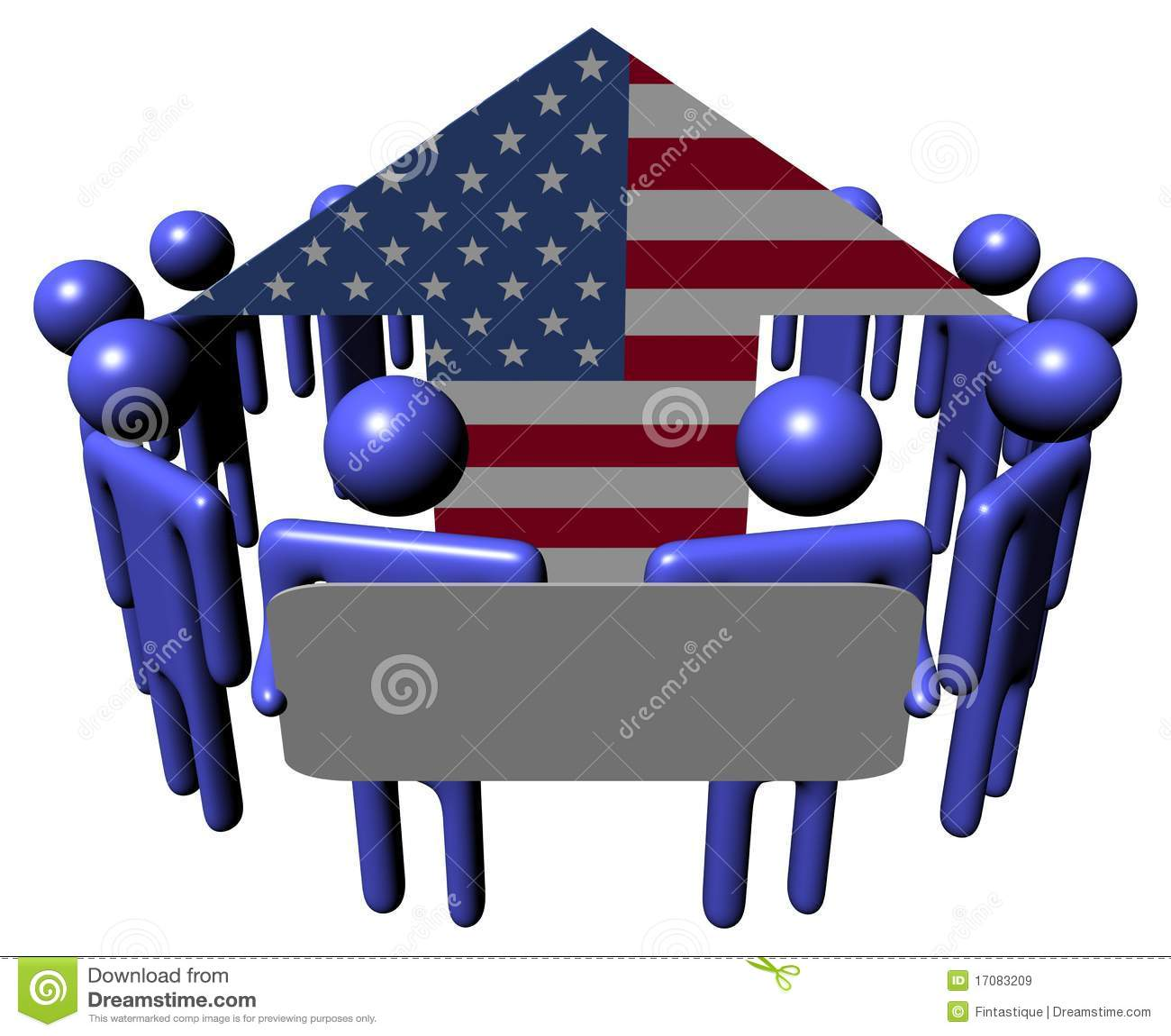 Mensen met teken rond Amerikaanse vlagpijl