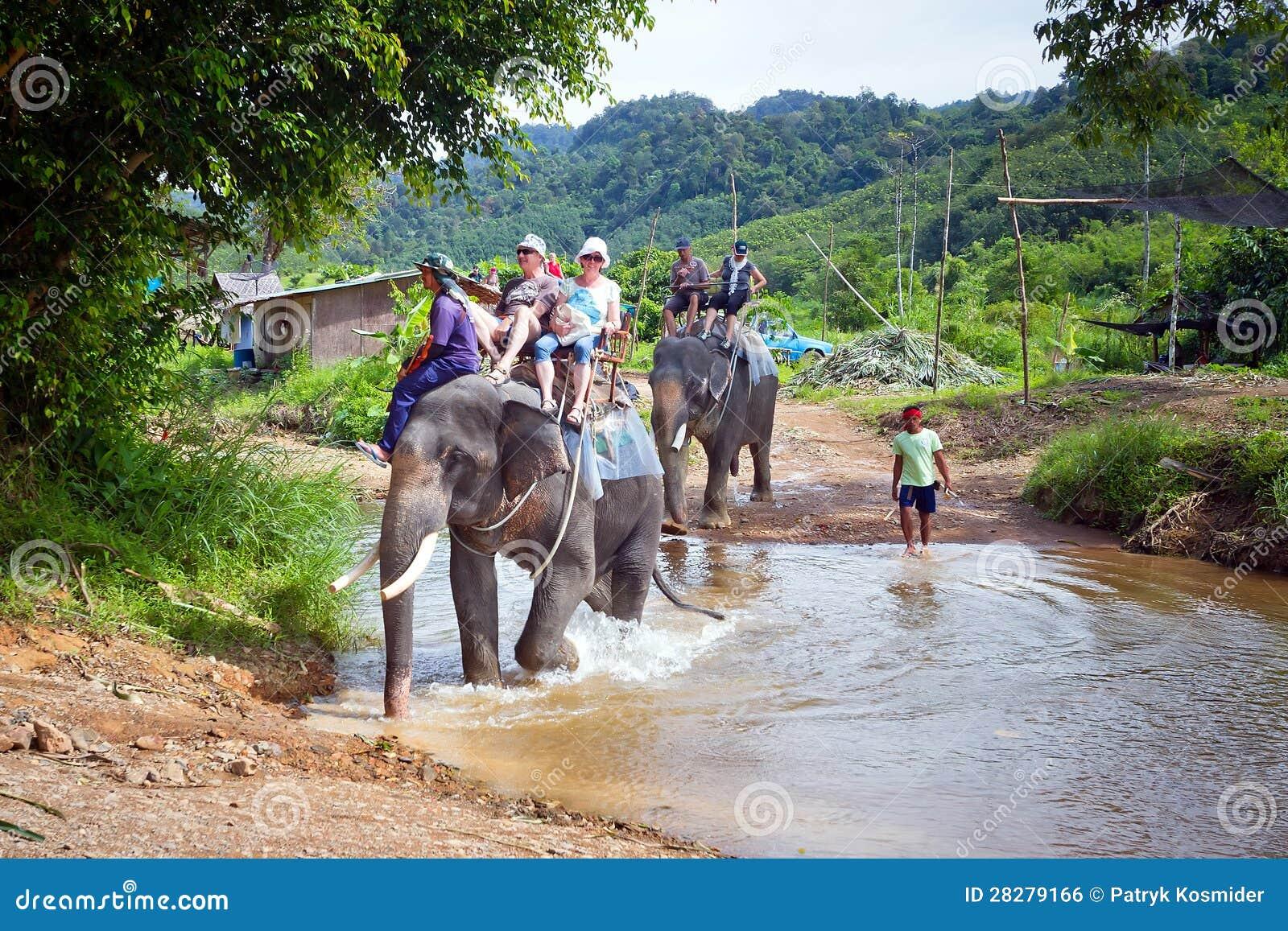 Mensen op de olifantstrekking in Thailand