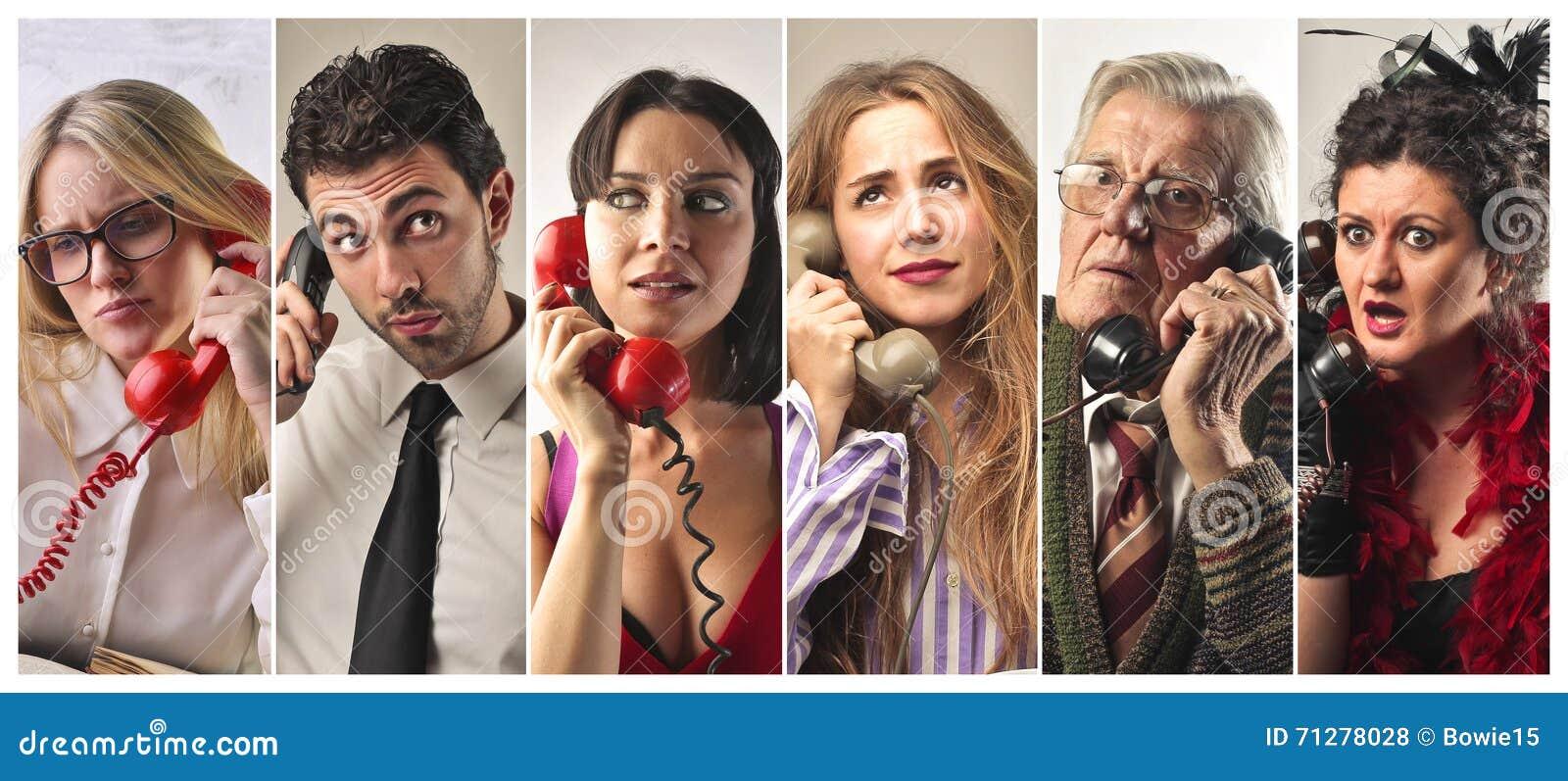 Mensen op de telefoon