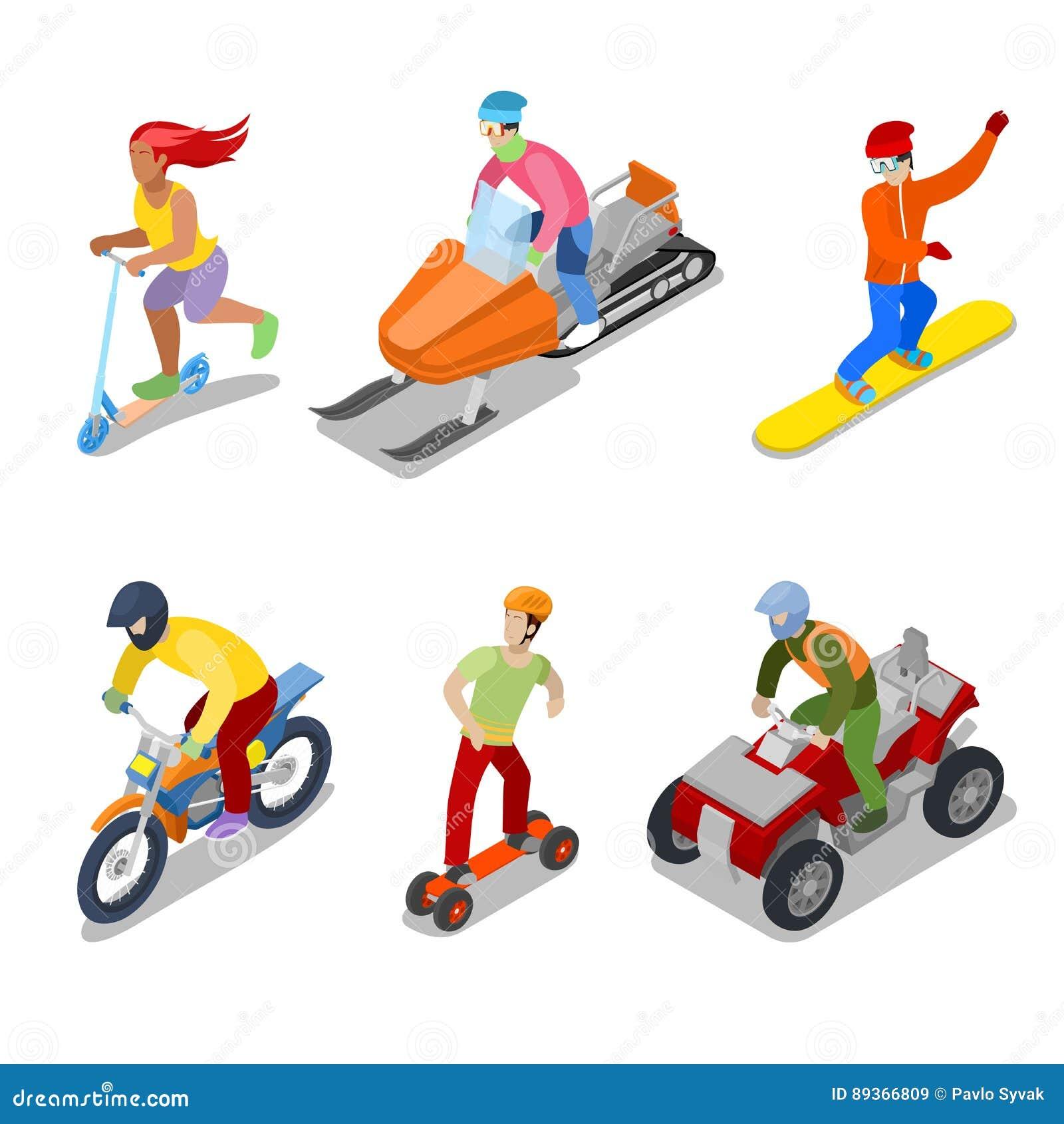 Mensen op Snowboard, ATV en Motorfiets Extreme sporten