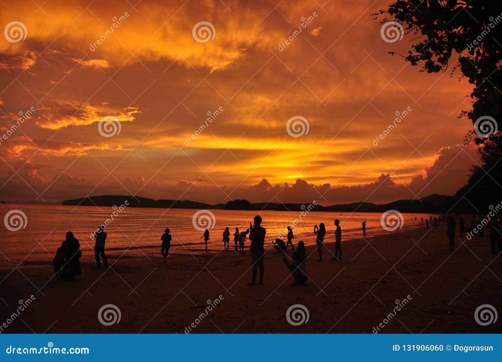 Mensen op zandige kust in zonsondergang, Silhouetten van mensen die tijd doorbrengen aan tropische kustlijn met gouden heldere he