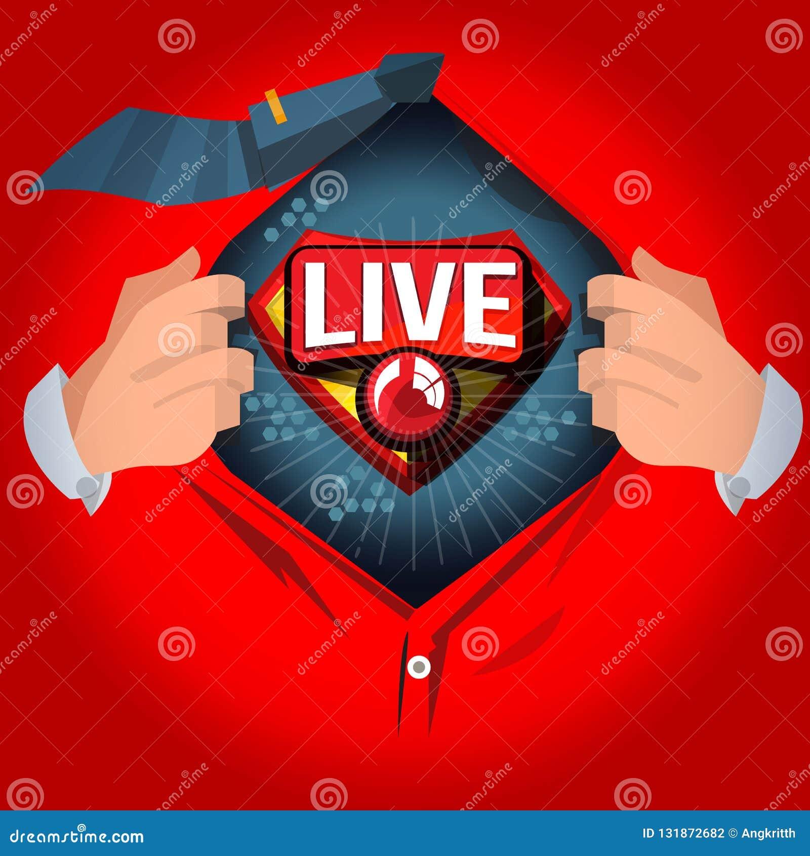 Mensen open overhemd om 'Live Broadcasting te tonen of te leven straming 'logotype in grappige stijl - vector