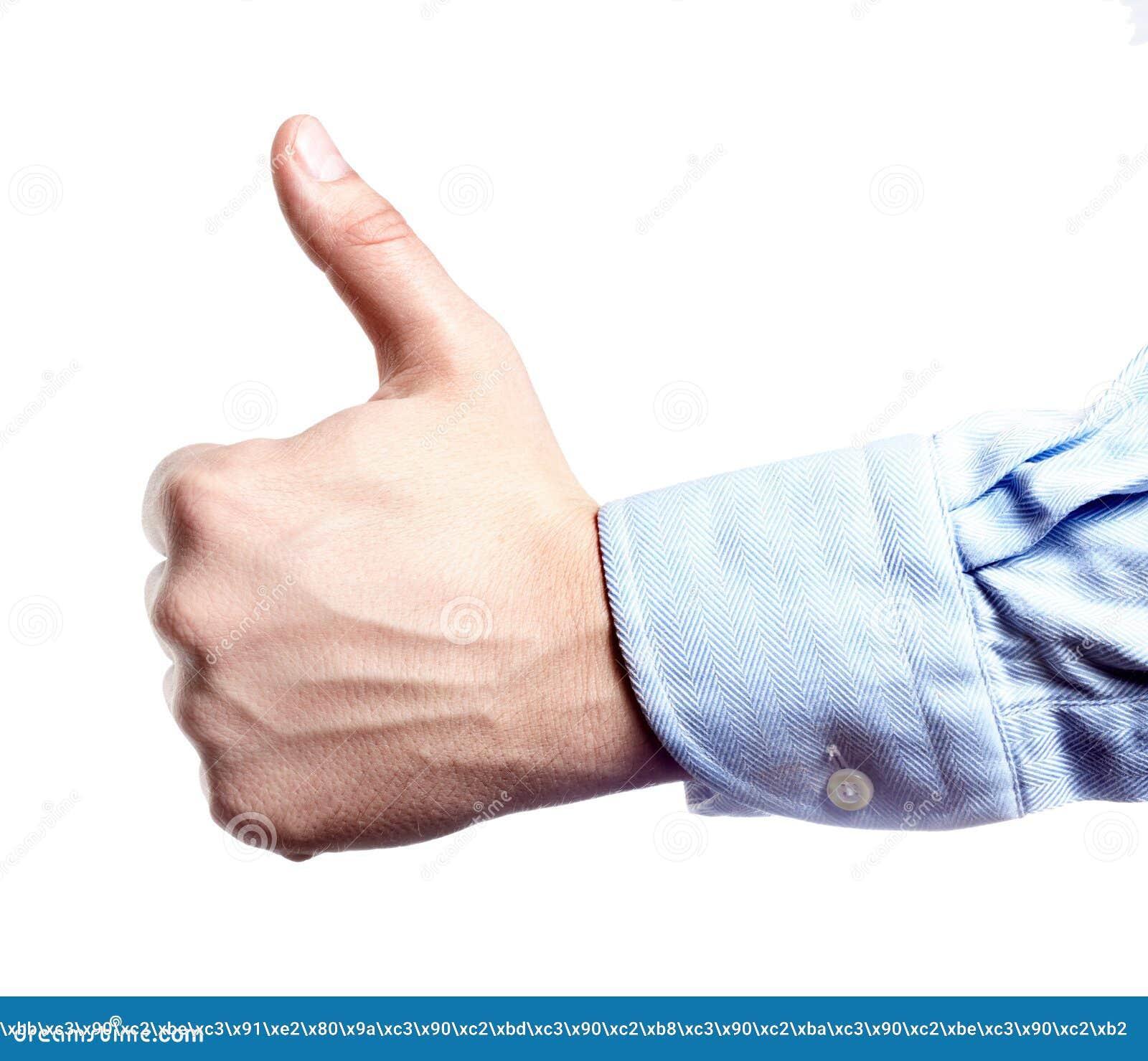 Mensen` s hand op wit wordt geïsoleerd dat Duim omhoog