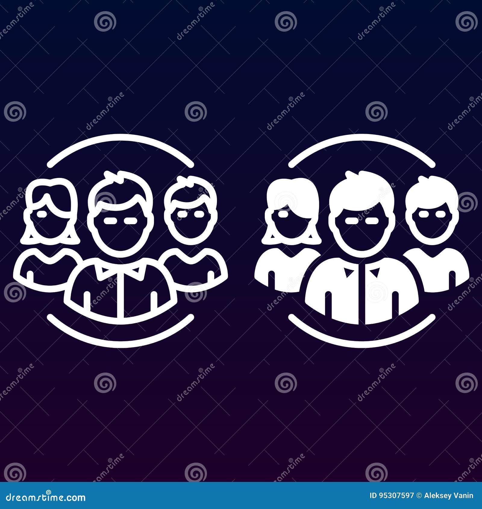 Mensen, teamlijn en stevig pictogram, overzicht en gevuld vectorteken, lineair en volledig die pictogram op wit worden geïsoleerd
