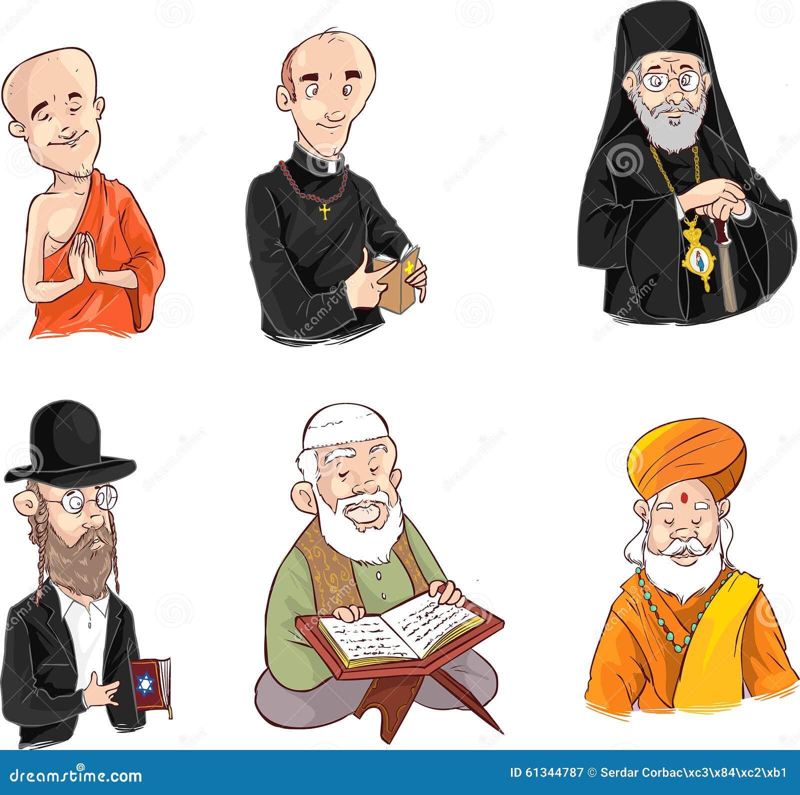 Mensen van verschillende godsdienst in traditionele kleding Islam, judaism, boeddhisme, orthodox, katholiek, hinduismillustratie