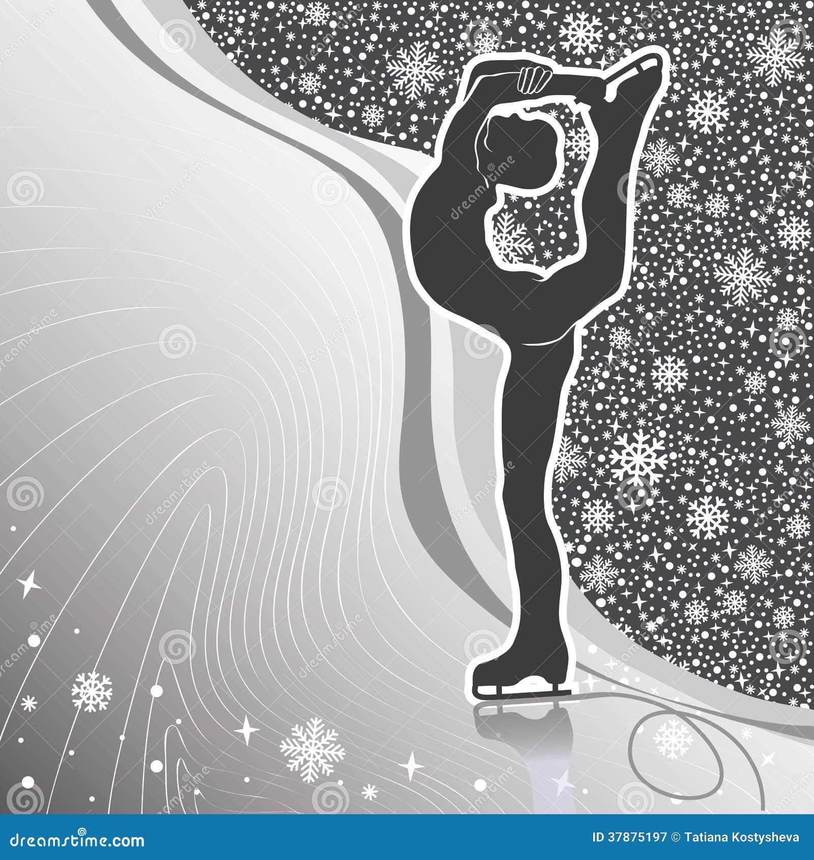 Mensenkunstschaatsen. Ontwerpmalplaatje met lijnen en sneeuwvlokkenbac