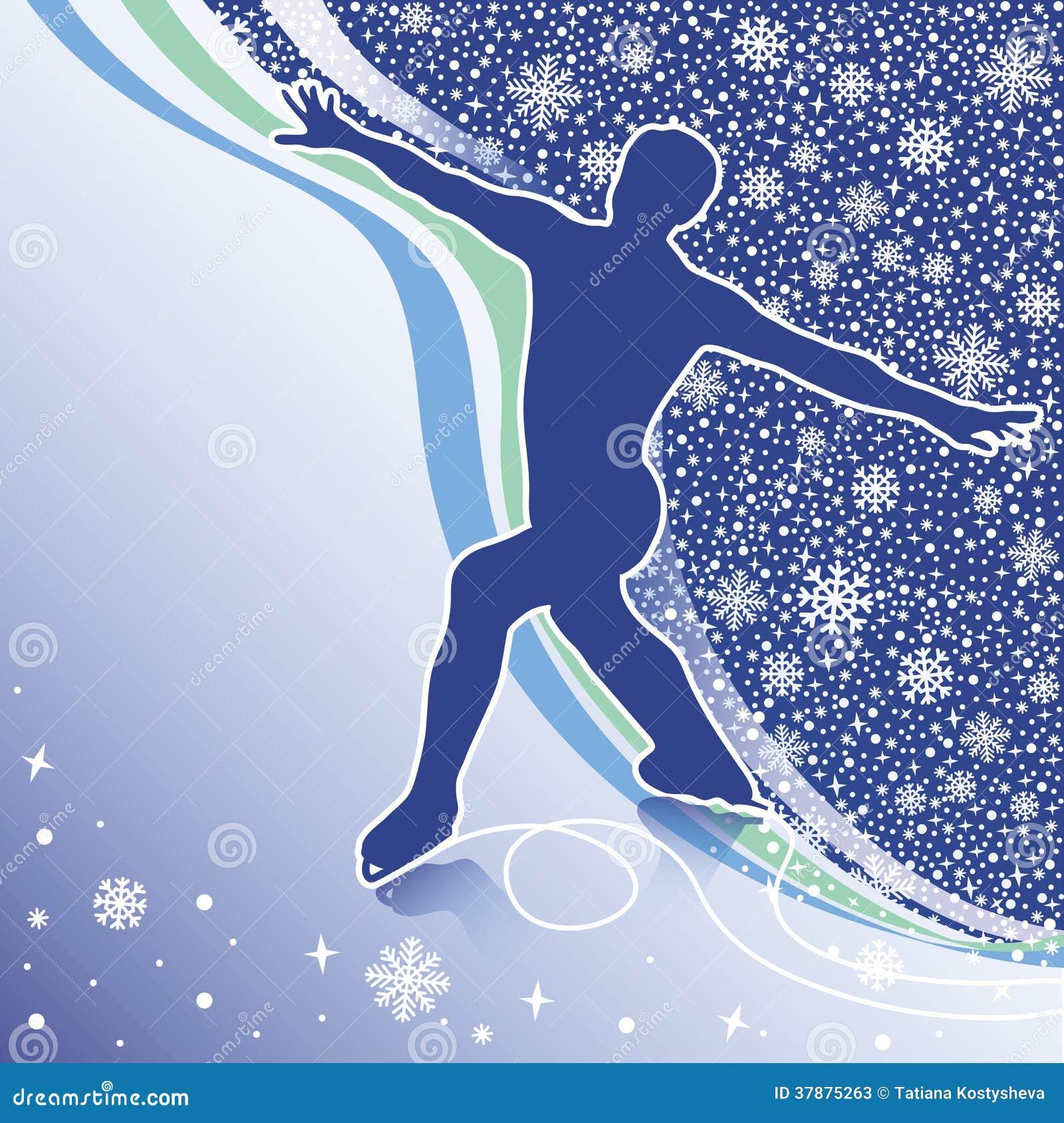 Mensenkunstschaatsen. Ontwerpmalplaatje met sneeuwvlokken