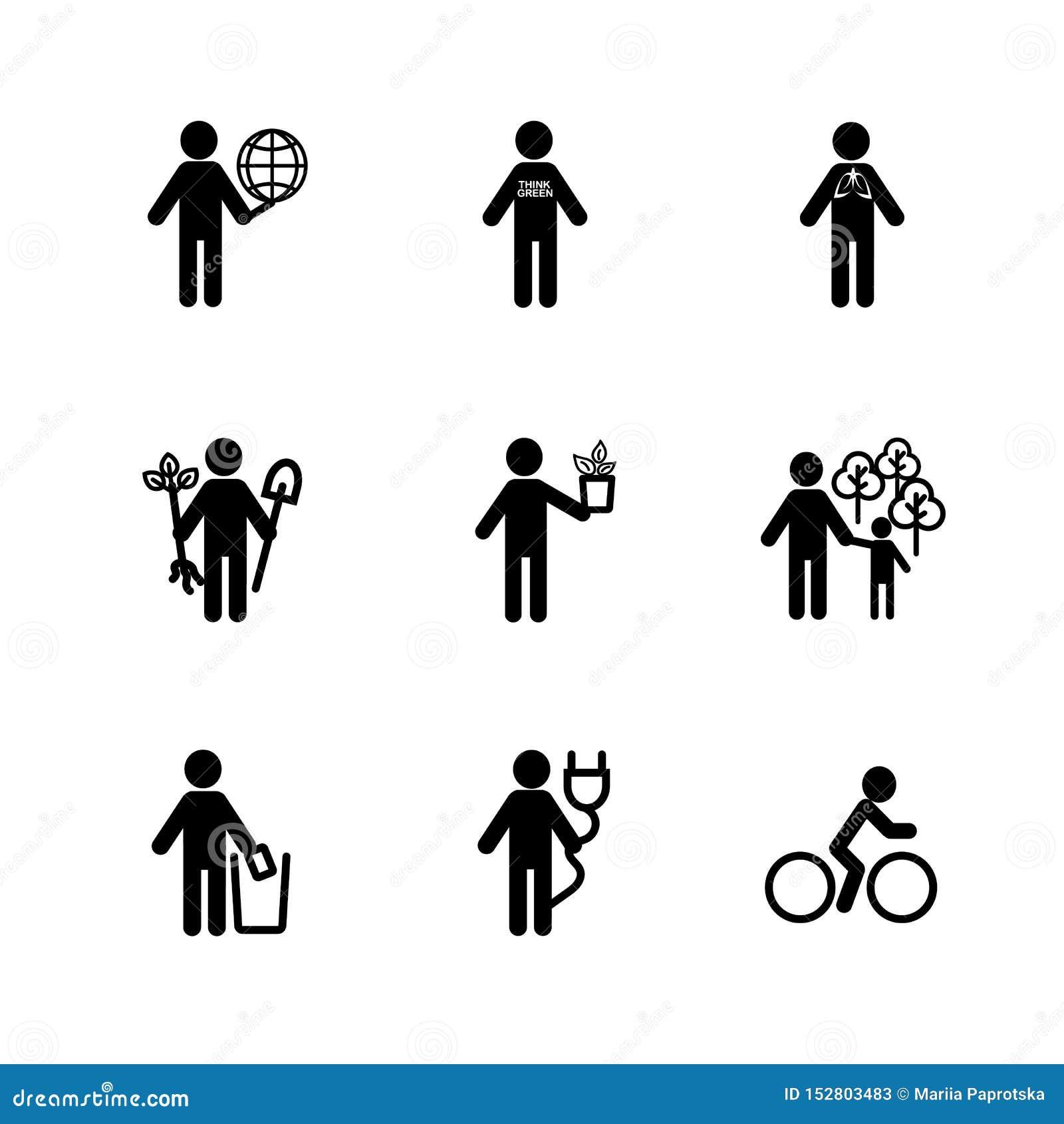 Mensenpictogram op het onderwerp van ecologie Het symbool voor Zaken Infographic, ontwerp in pictogramillustratie