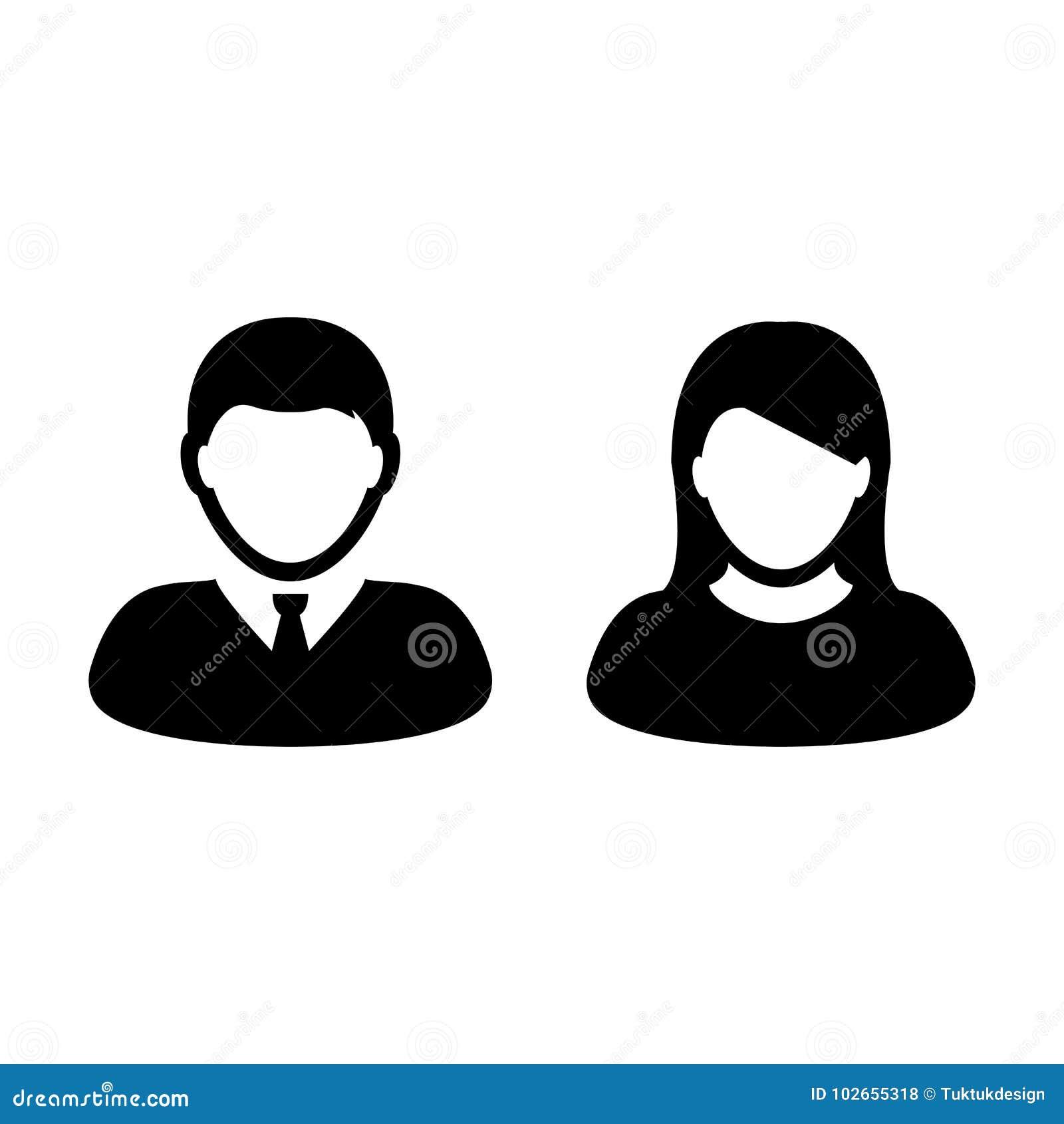 Mensenpictogram Vector Mannelijk en Vrouwelijk Person Profile Avatar