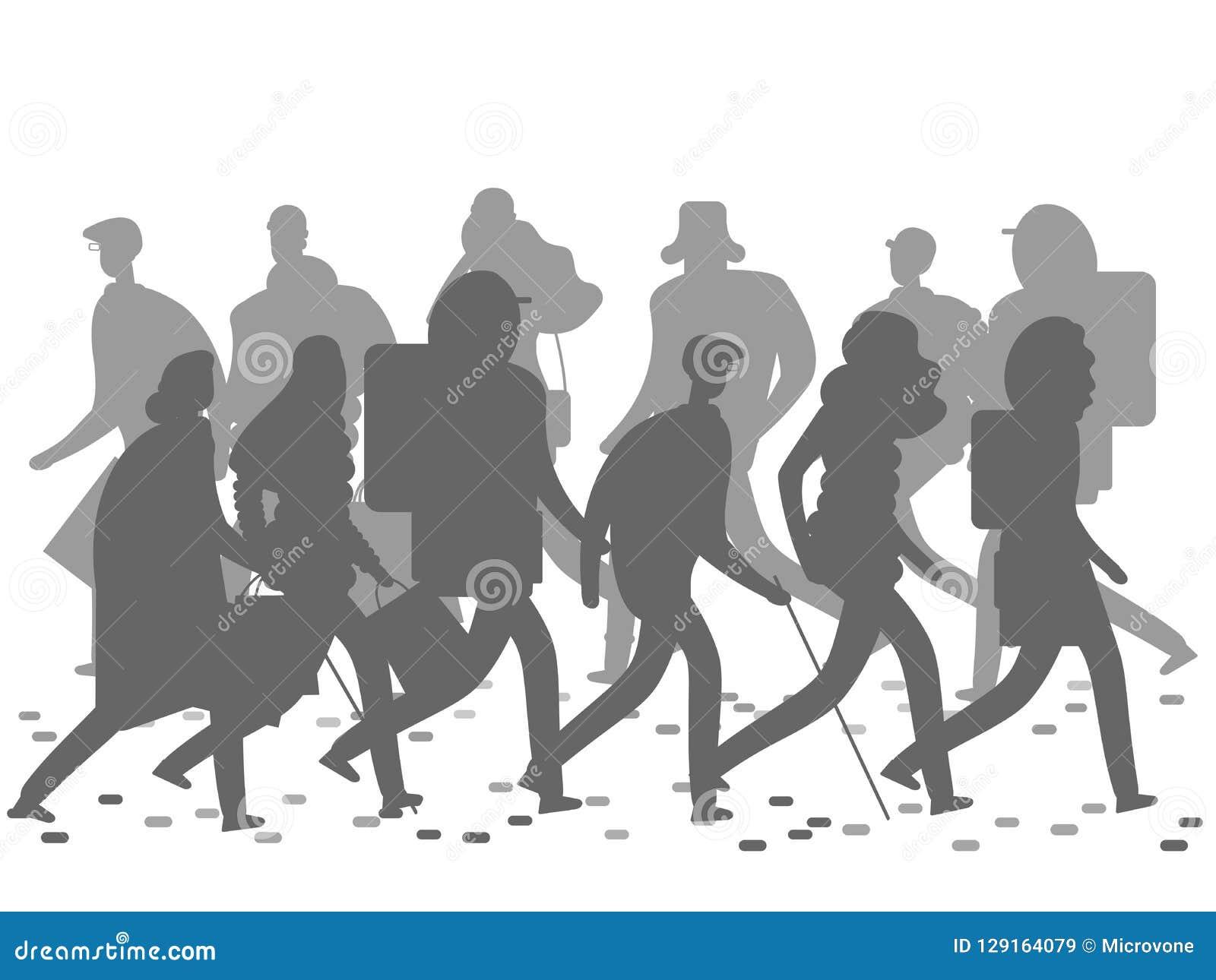 Mensensilhouetten die op de de winter of de herfststraat lopen