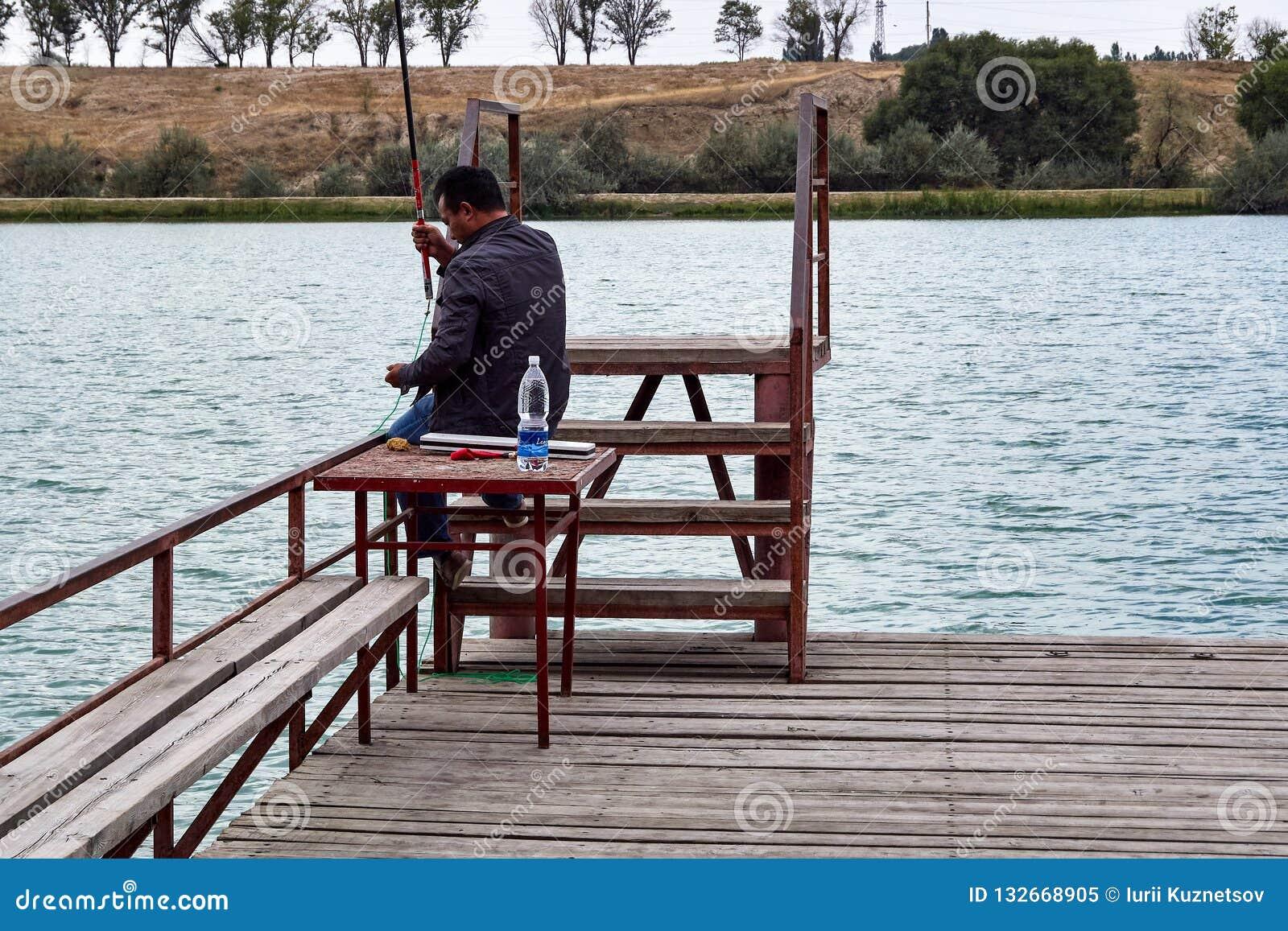 Mensenvissen op het meer