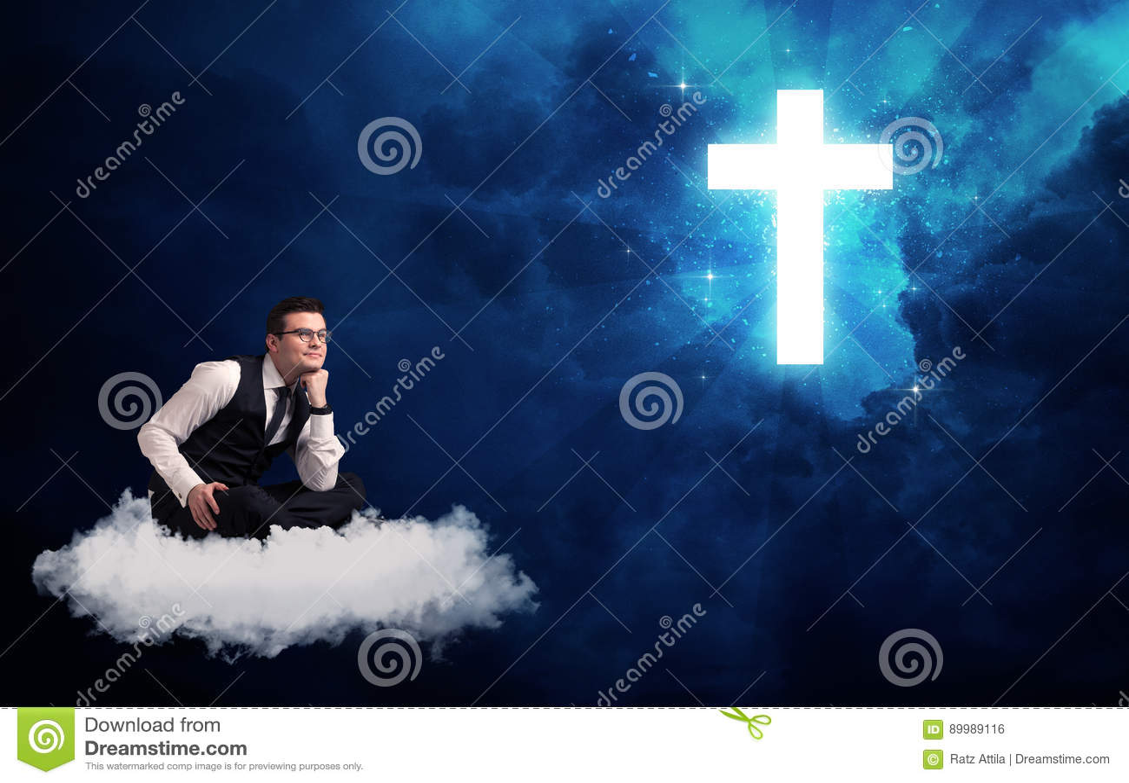 Mensenzitting bij wolk het lokking bij een kruis