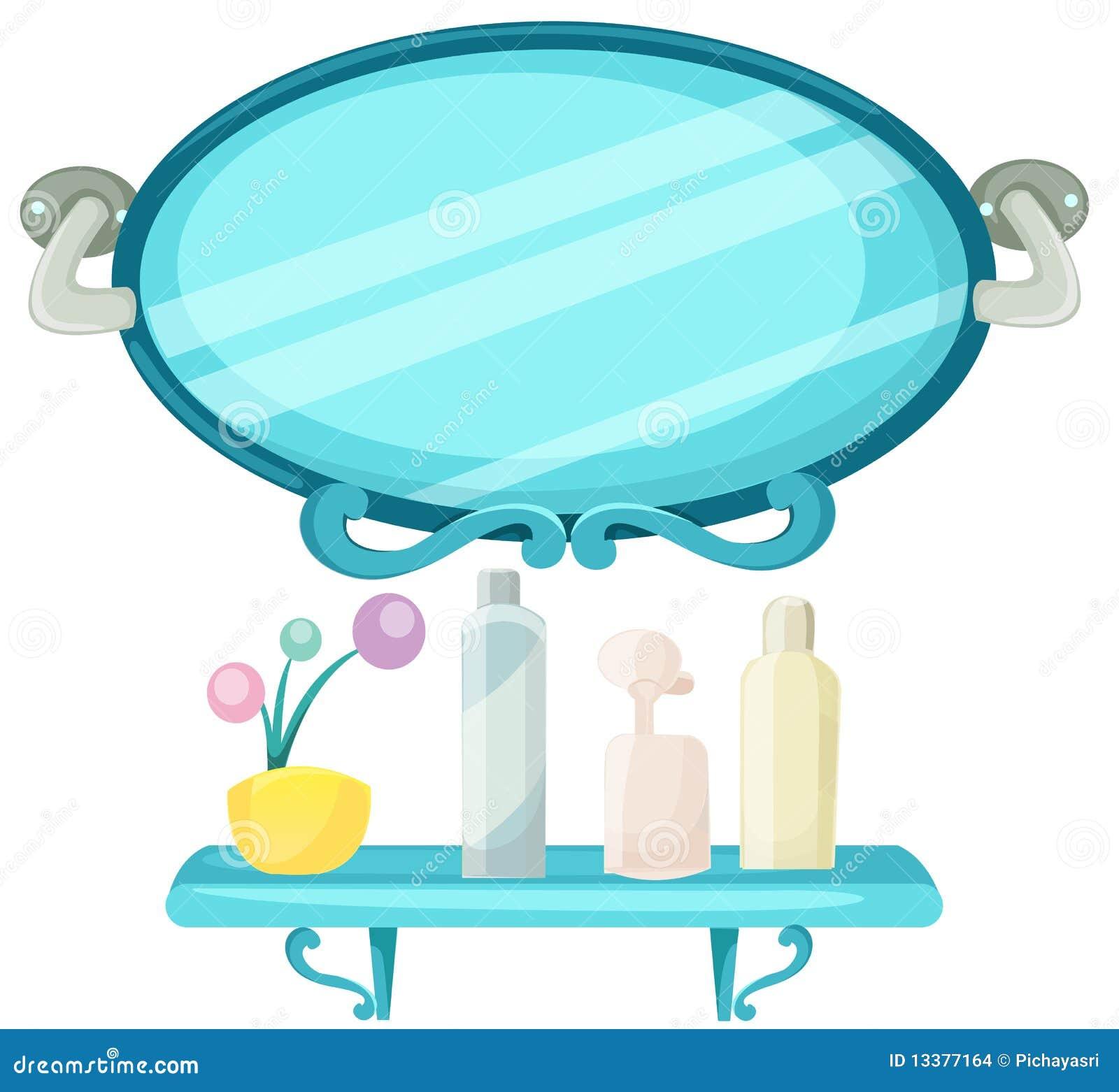 Mensola In Una Stanza Da Bagno Con Lo Specchio Immagini Stock - Immagine: 13377164
