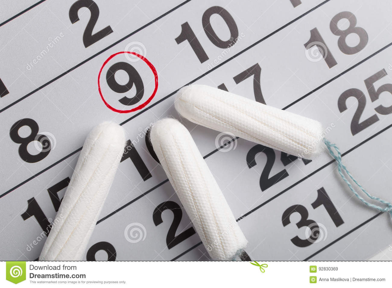 Menstrual calendar with tampons and pads. Menstruation cycle. Hygiene and protection