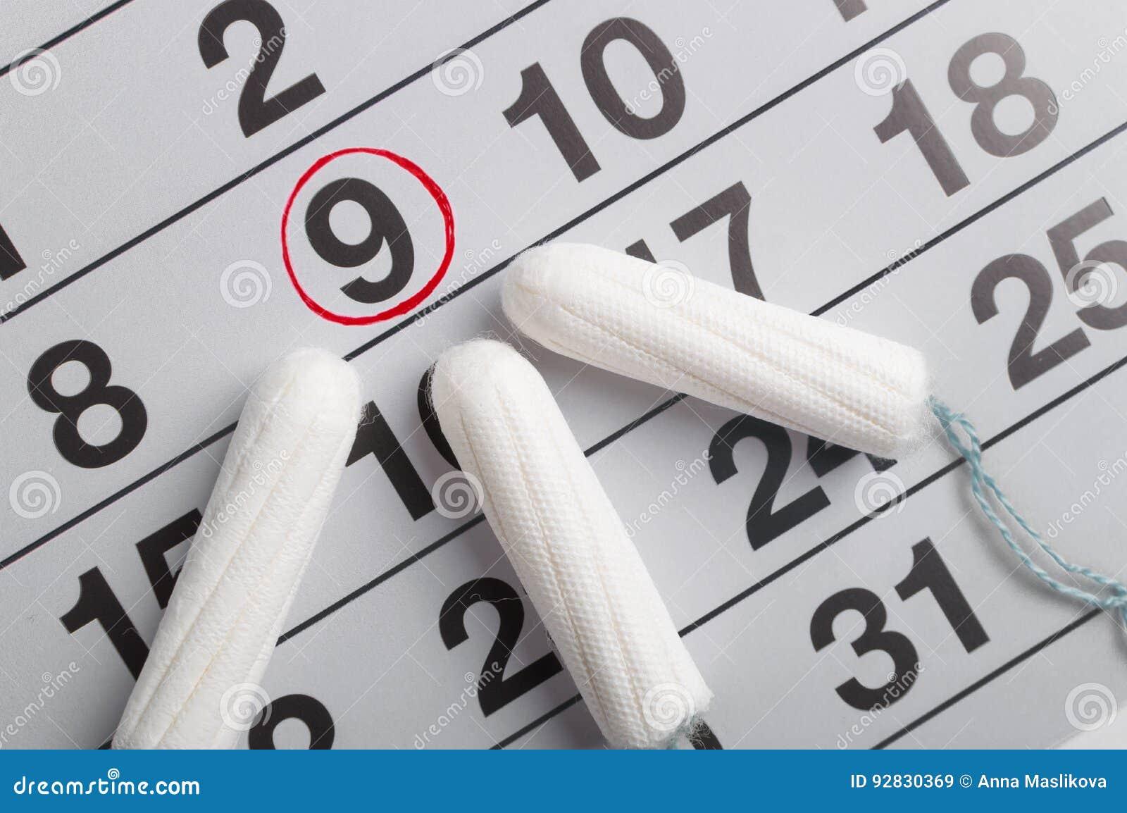 Menstrual kalendarz z tamponami i ochraniaczami Miesiączka cykl Higiena i ochrona