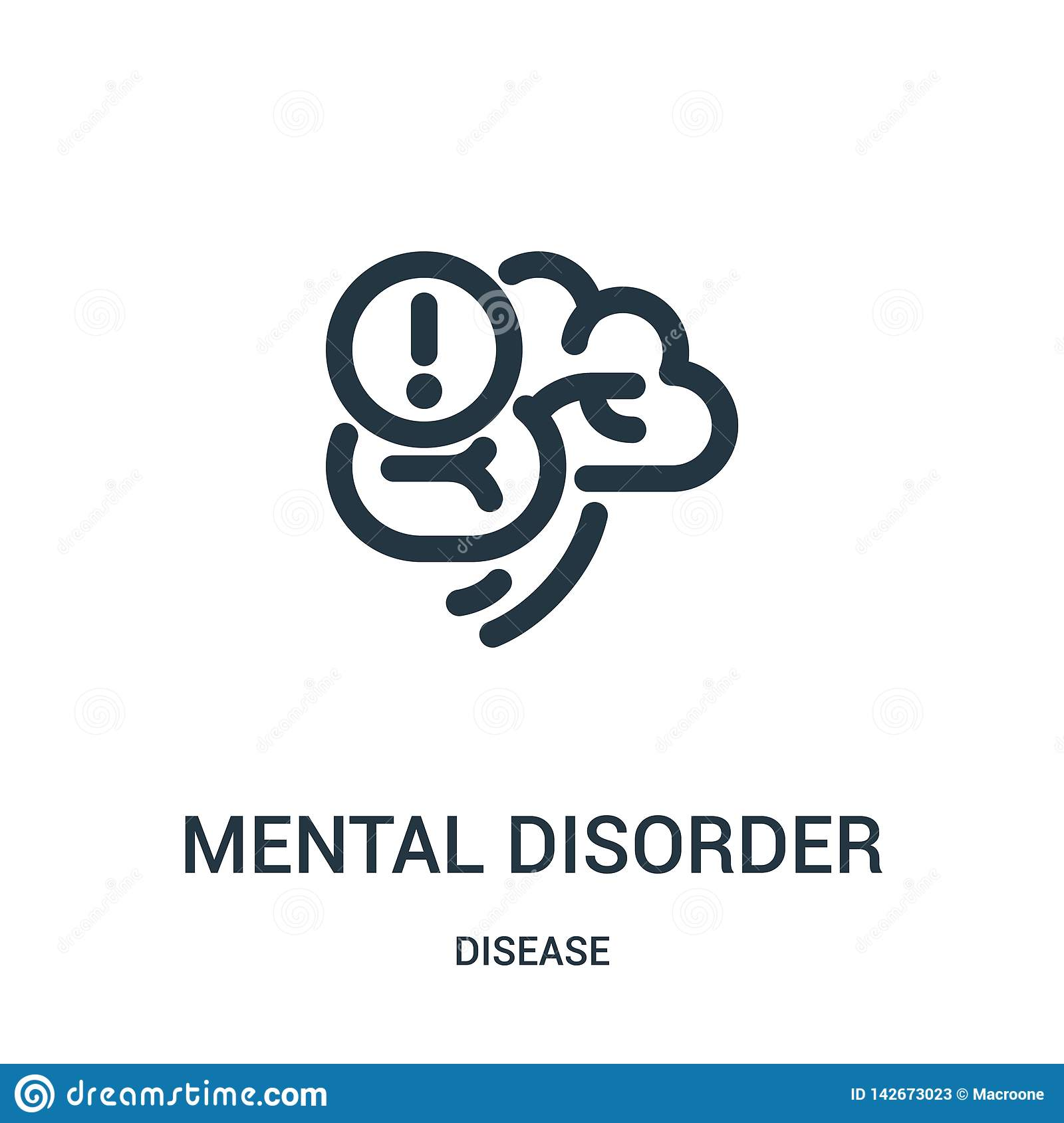mental disorder icon vector from disease collection. Thin line mental disorder outline icon vector illustration. Linear symbol for