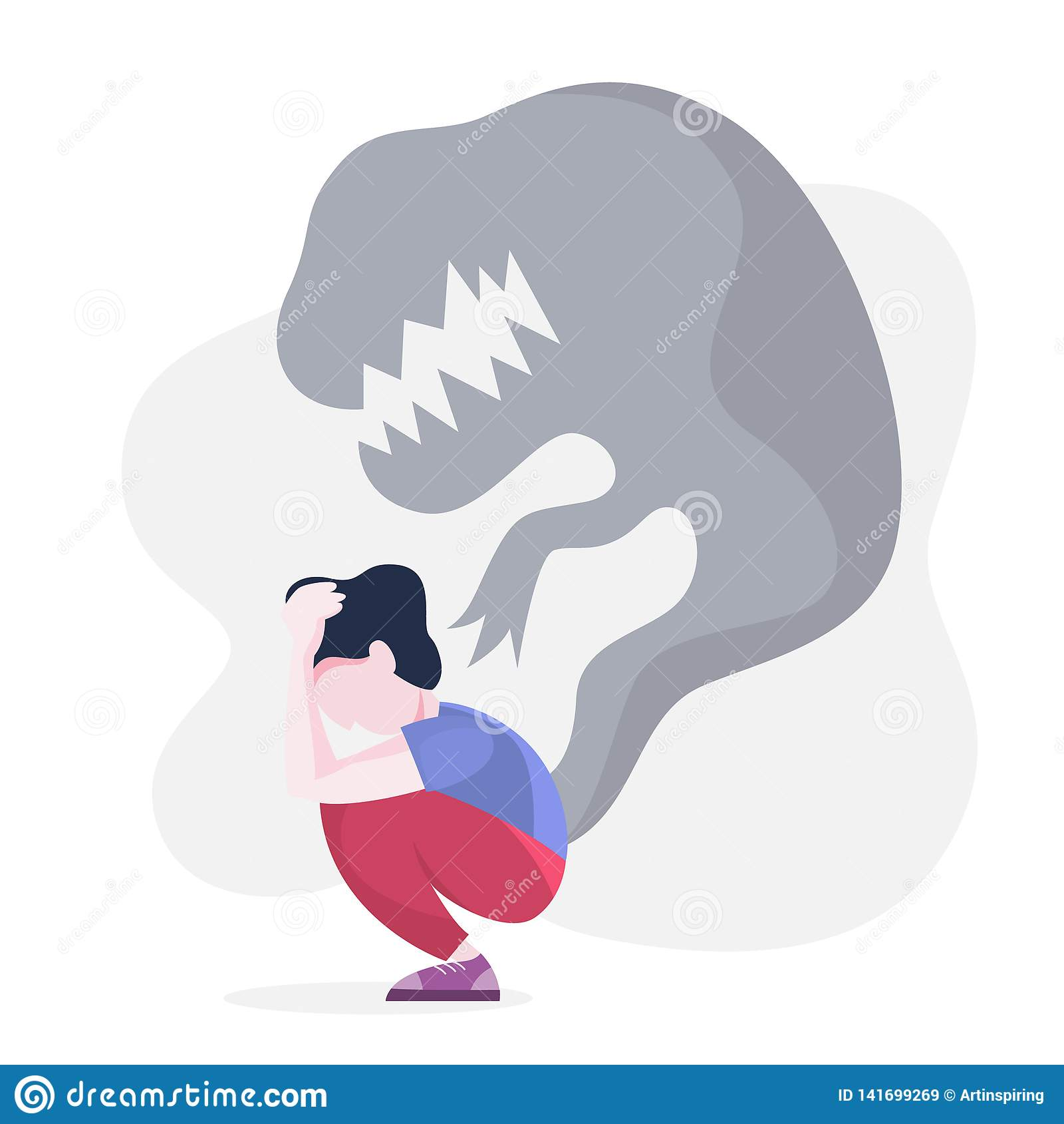 Mental Disorder Woman Suffer From A Depression Stock Vector Illustration Of Phobia Adult 141699269