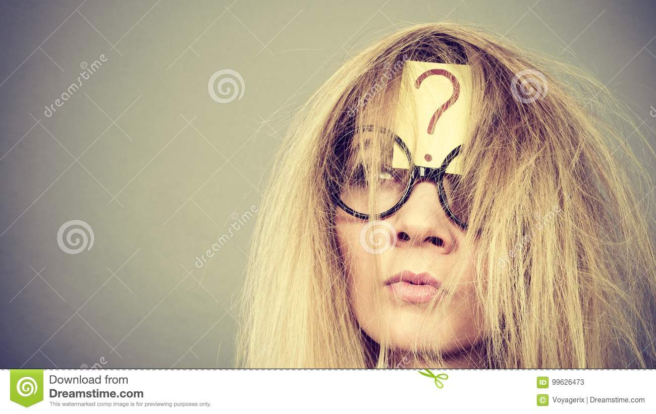 Tired Crazy Woman After Intensive Thinking Stock Image