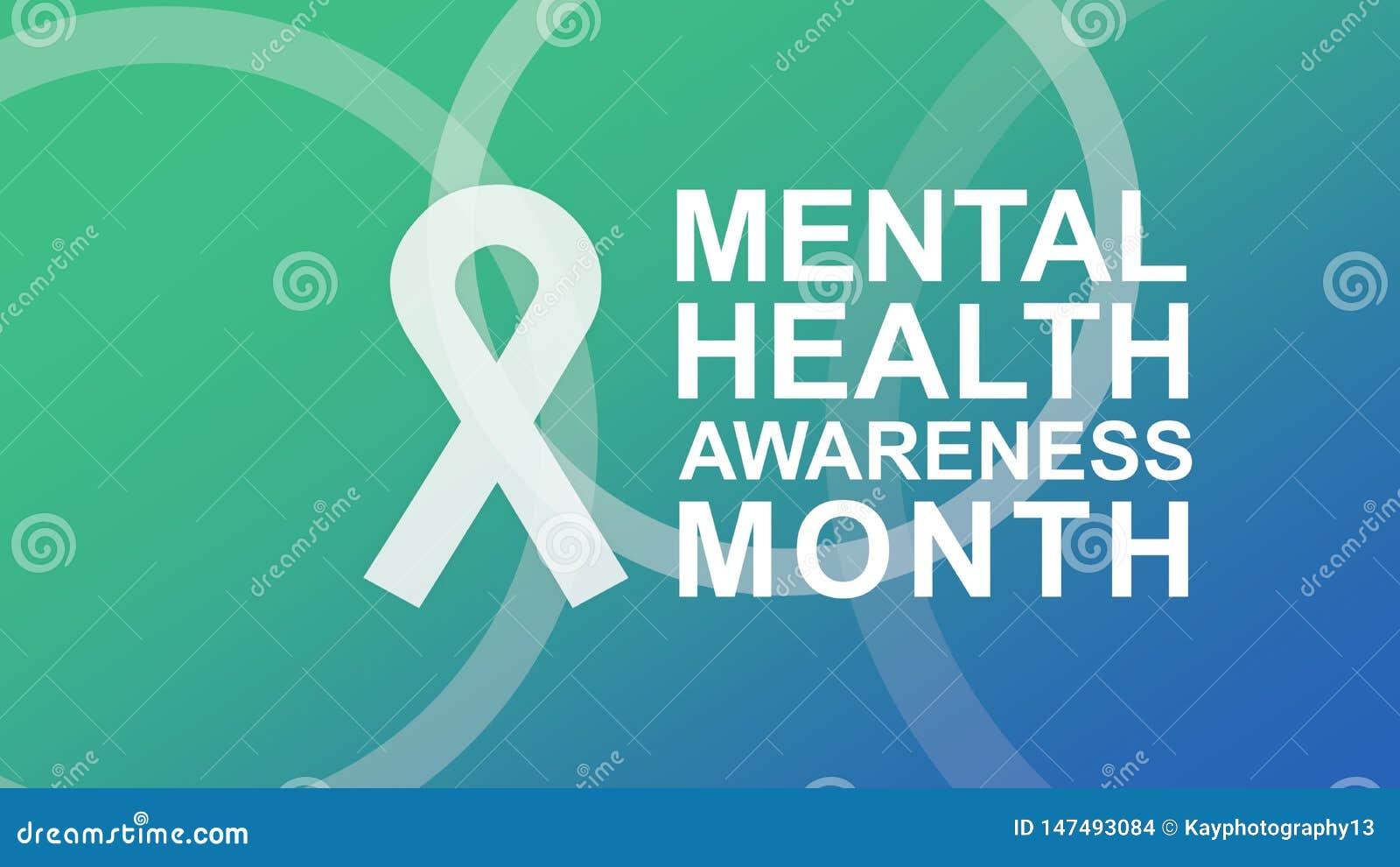 Mental hälsamedvetenhetaffisch och baner som markerar medvetenhet av mentala hälsor