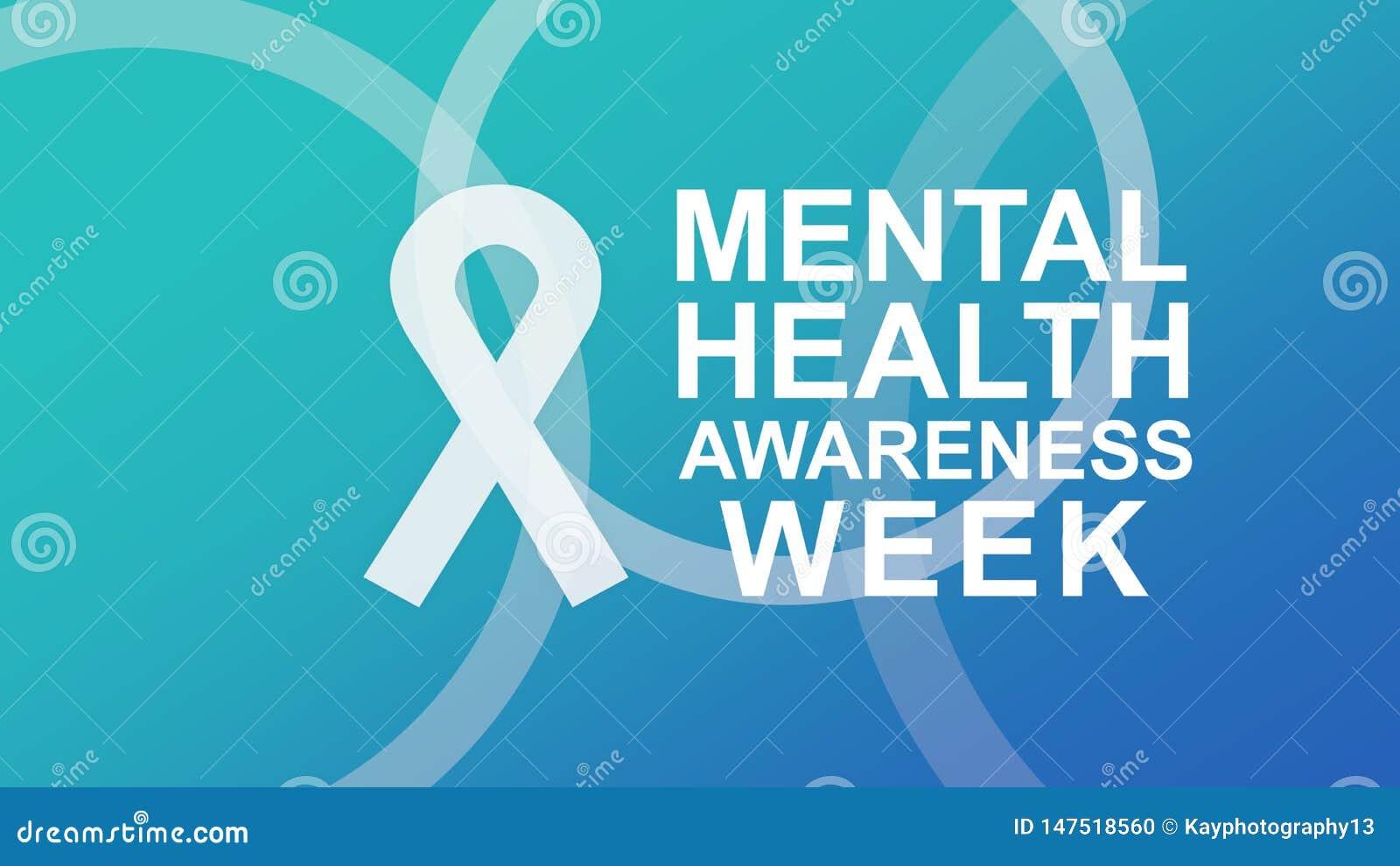 Mental h?lsamedvetenhetaffisch och baner som markerar medvetenhet av mentala h?lsor