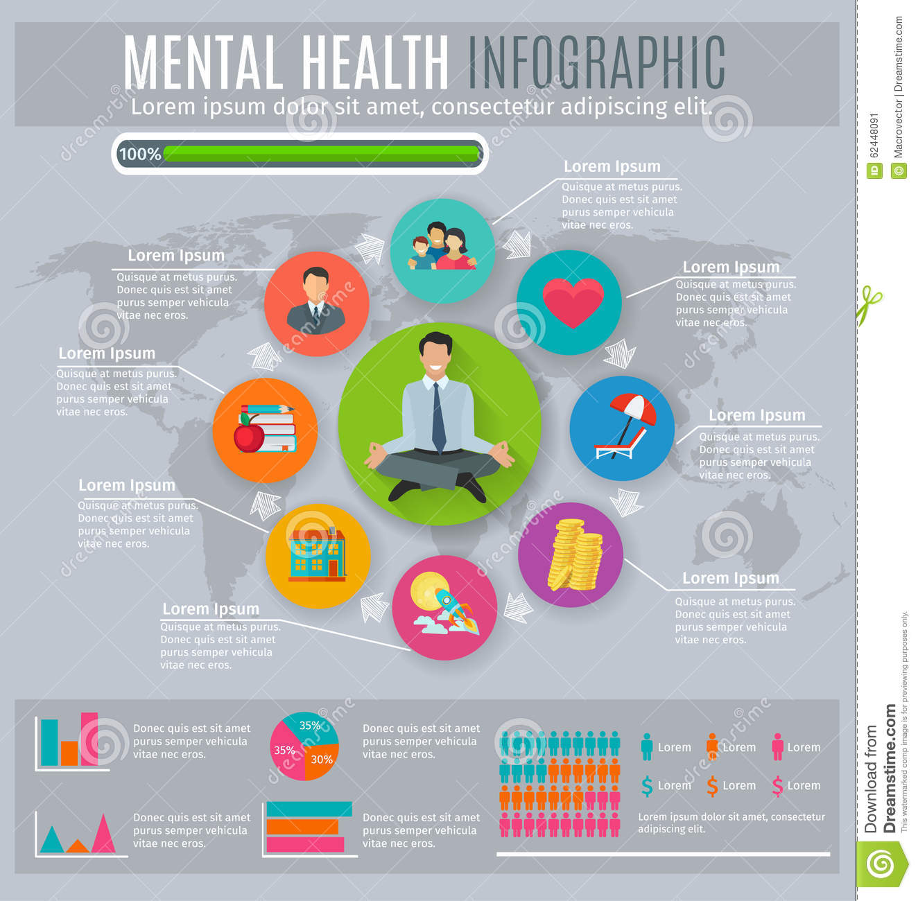 Mental Health Infographic Presentation Design Stock Vector