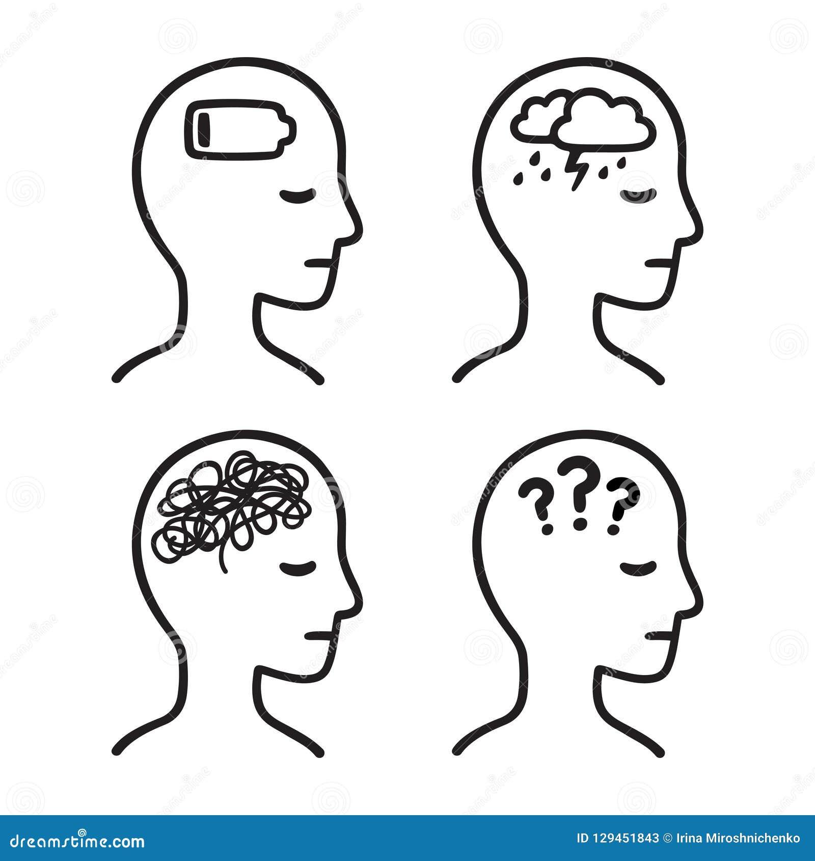 Mental Illness Head Symbols Stock Vector Illustration Of Crisis