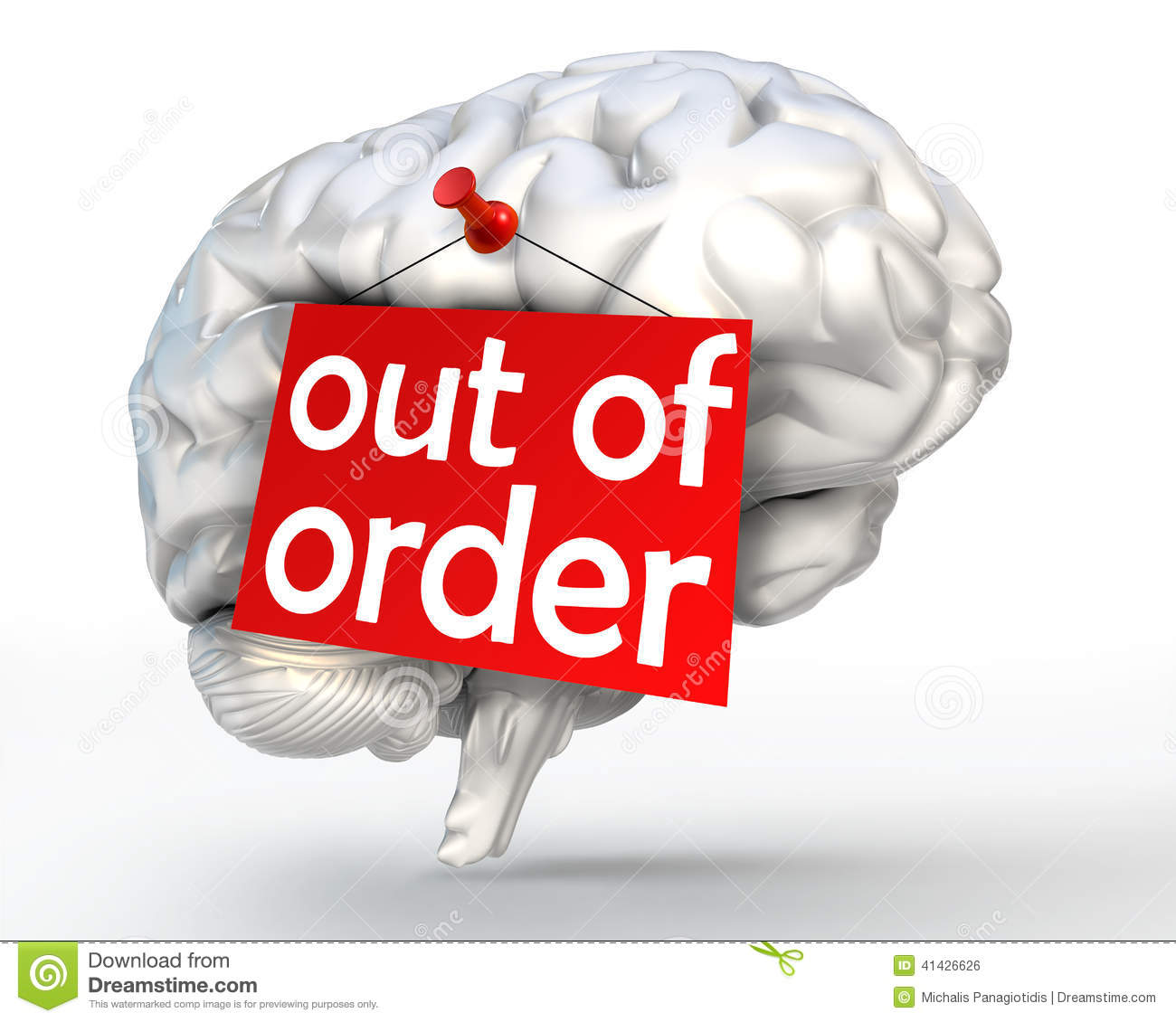 Of order red sign on human brain stock illustration image 41426626