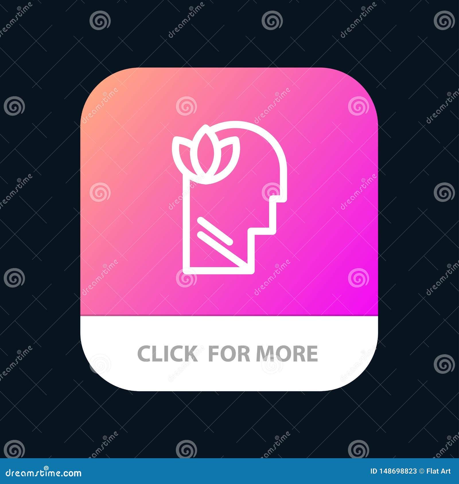 Mental, relajación, mente, botón móvil principal del App Android y línea versión del IOS