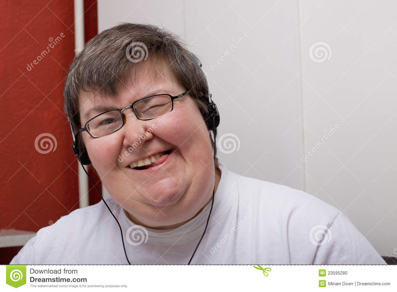 Mentally Disabled Woman With Earphone Royalty-Free Stock ...