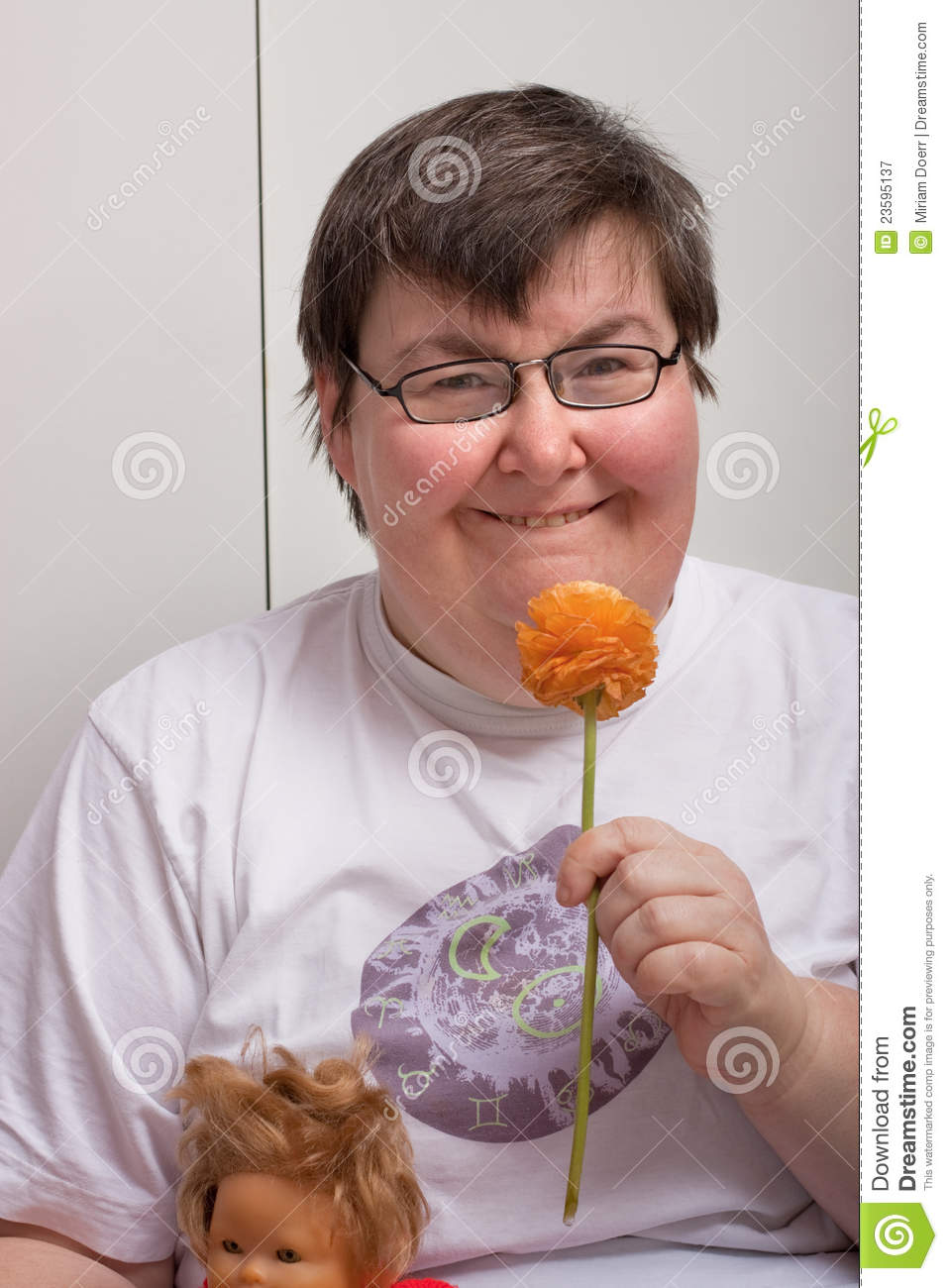 Mentally Disabled Woman With Flower Royalty Free Stock ...