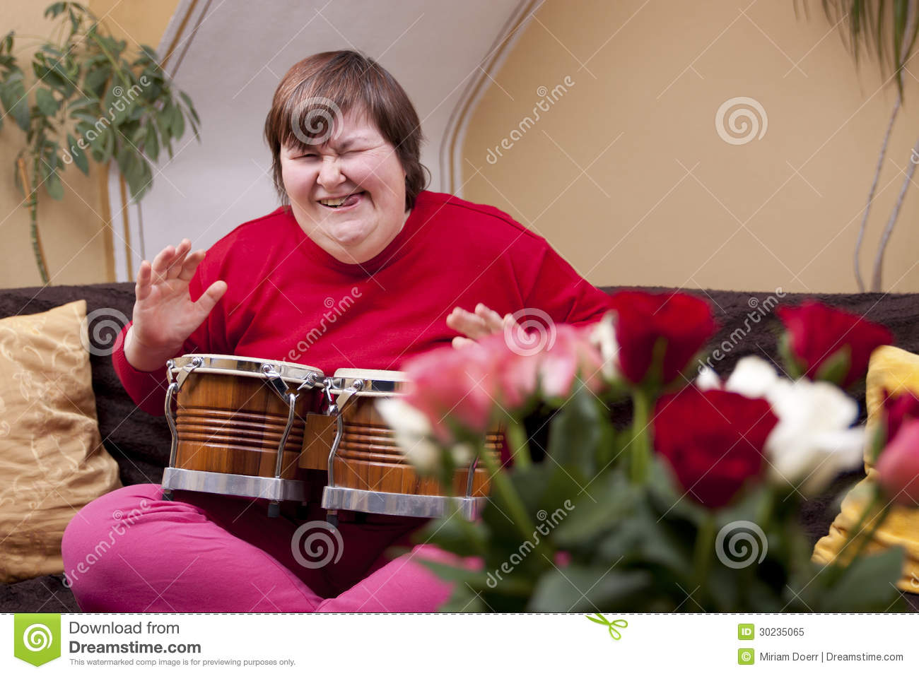 Mentally Disabled Woman Plays Drum Royalty Free Stock Photo ...