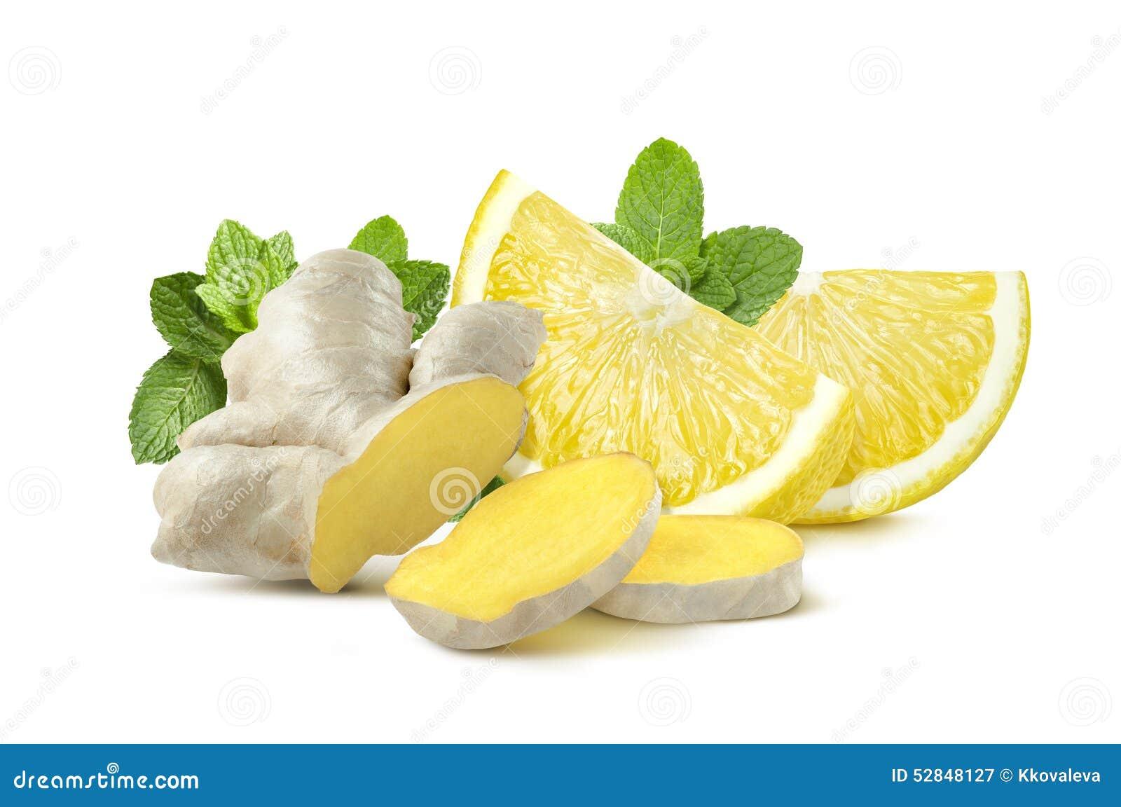 menthe de citron de gingembre sur le fond blanc photo stock image 52848127. Black Bedroom Furniture Sets. Home Design Ideas