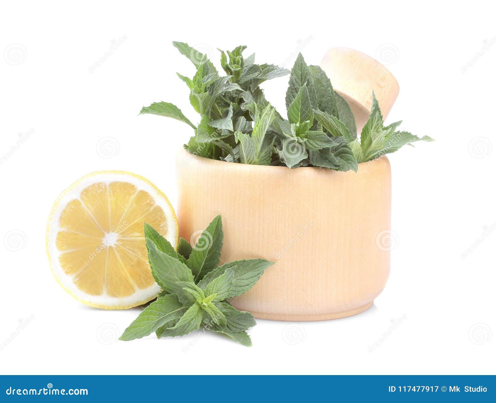 Menthe fraîche dans un mortier avec le citron D isolement