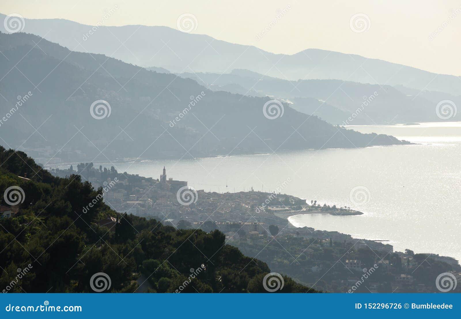 Menton Provence-Alpes-skjul D ` Azur, Frankrike Cote d Azur av franska Riviera