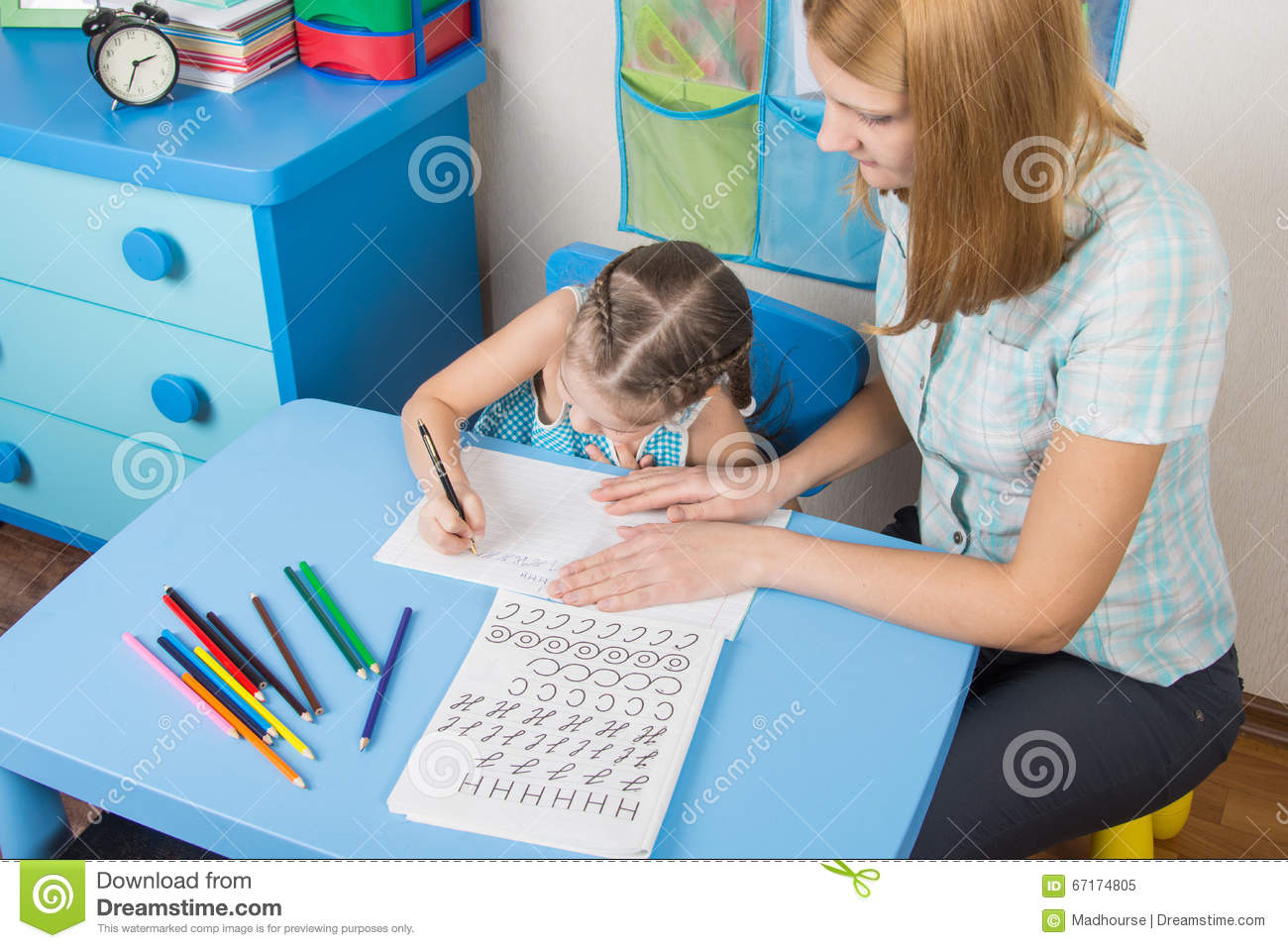 Worksheet Child Spelling mentor and five year old child learning spelling stock photo spelling
