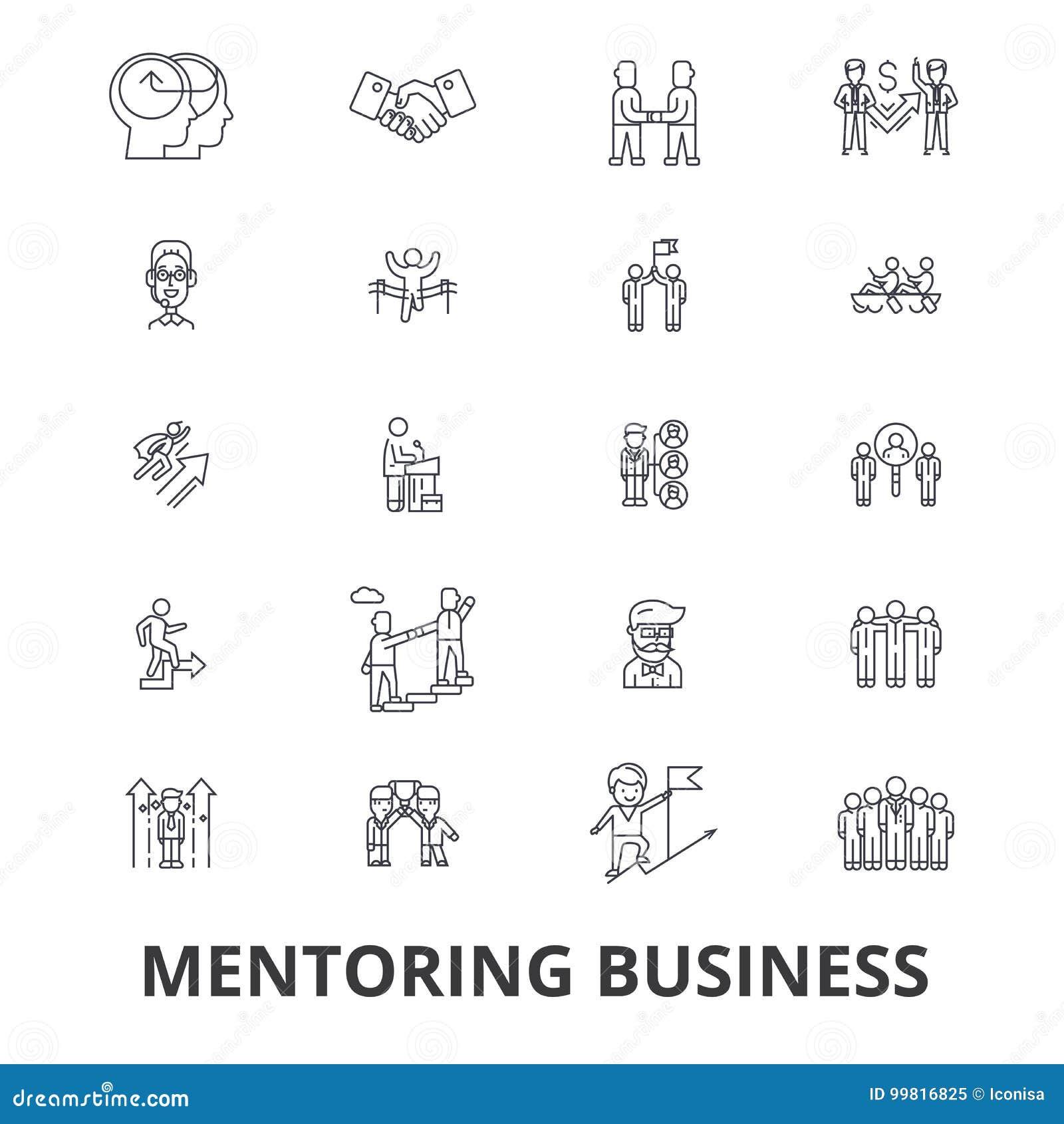 Mentoring επιχείρηση, σύμβουλος, προγύμναση, επιχειρησιακή καθοδήγηση, τραίνο, βοήθεια, εικονίδια γραμμών ομαδικής εργασίας Κτυπή