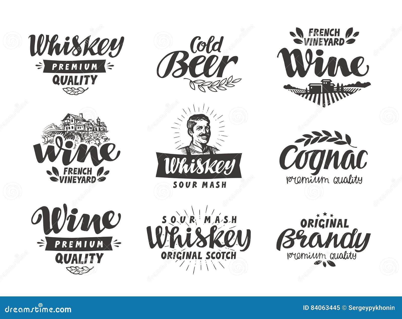 Menu, alkoholiczni napoje Wektor przylepia etykietkę wino, piwo, whisky, brandy, koniak