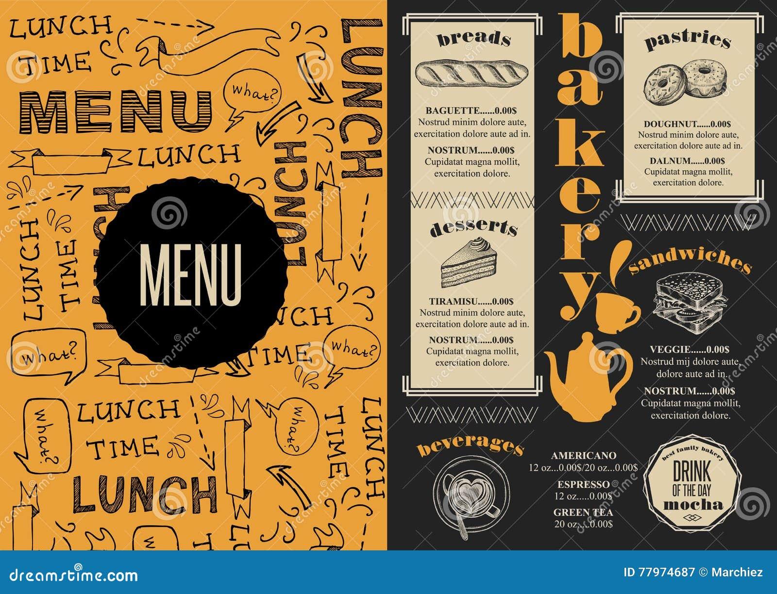 Menu bakery restaurant food template placemat stock vector menu bakery restaurant food template placemat altavistaventures Image collections