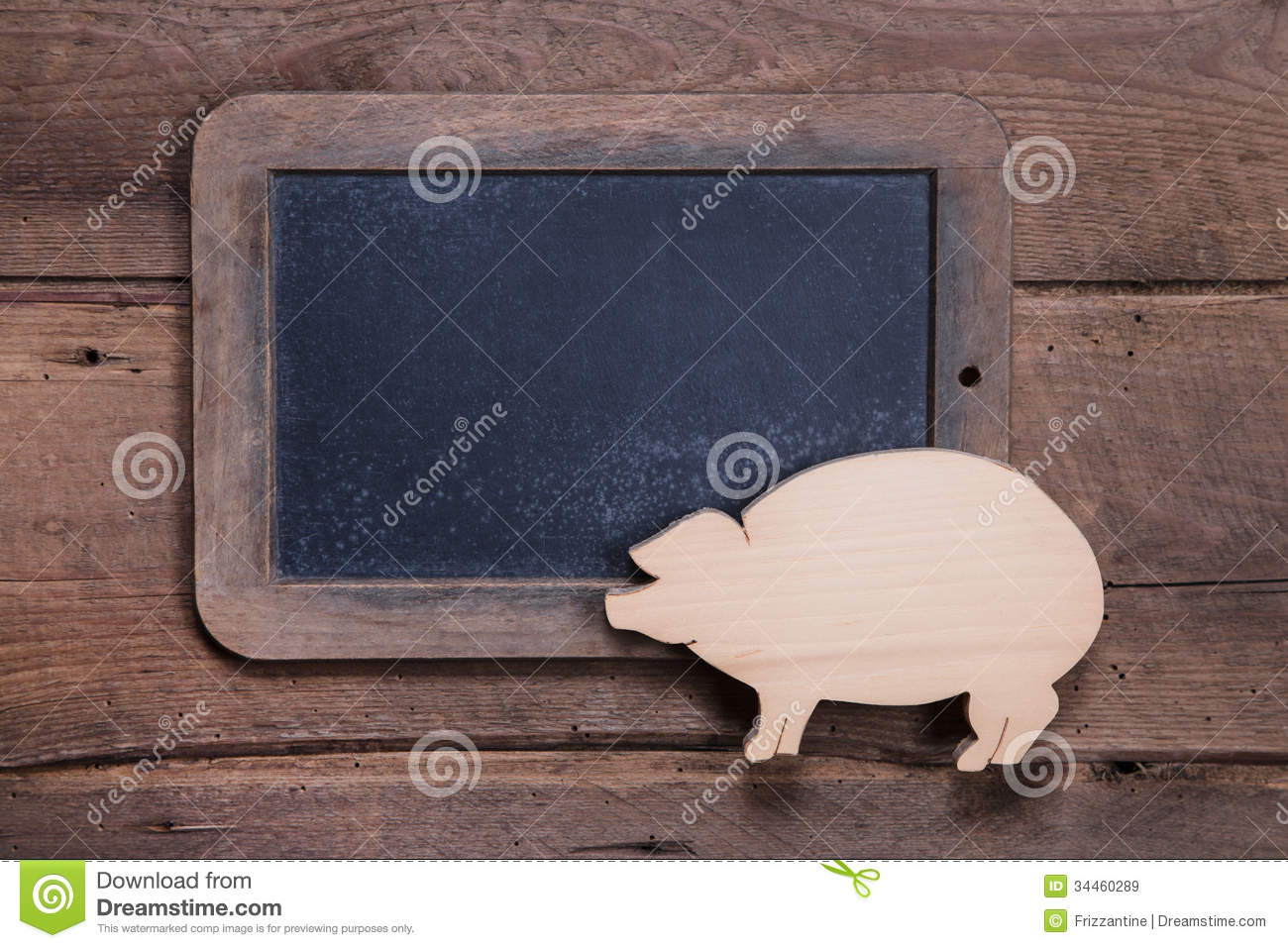 Menu board with pink pig on wooden background for New Year