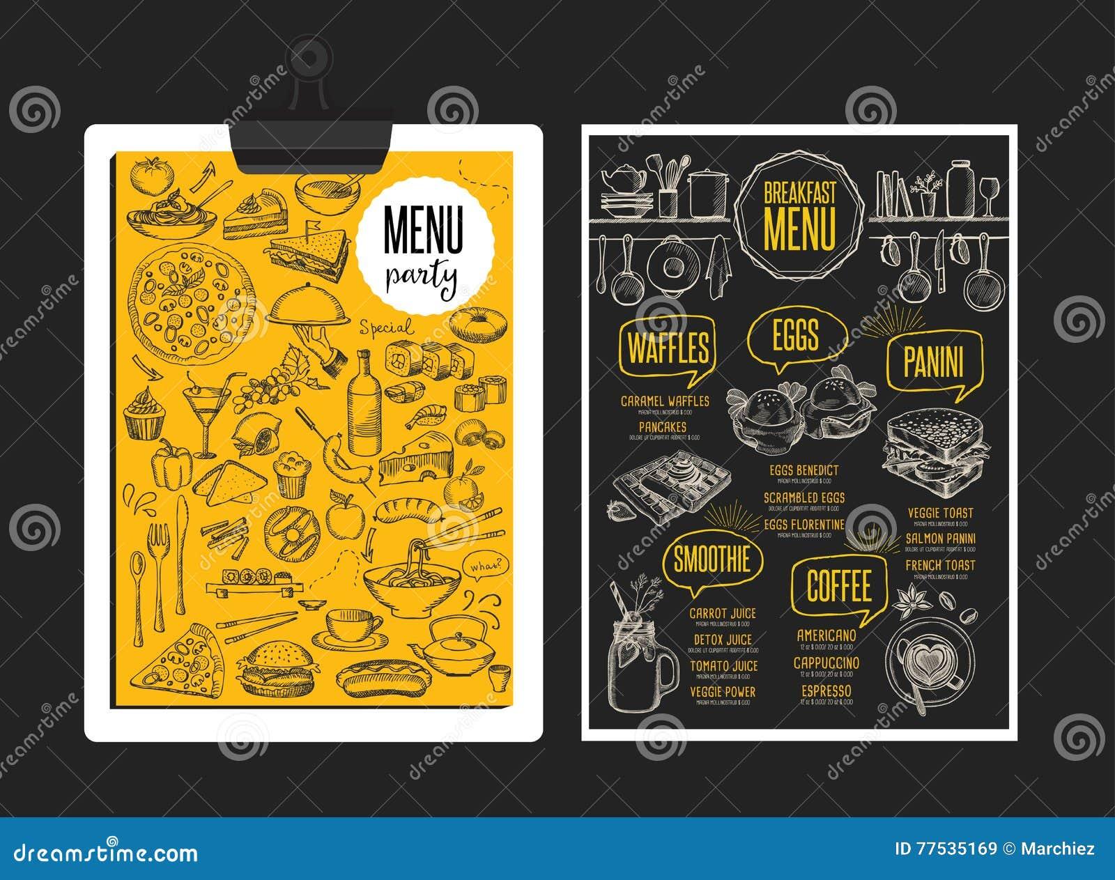 menu breakfast restaurant food template placemat stock vector